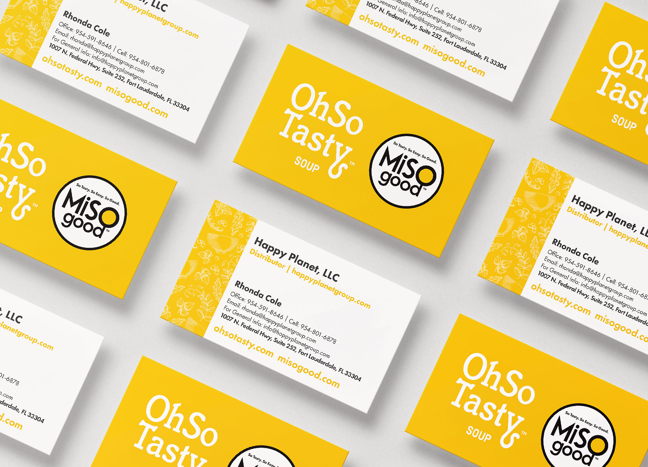 MiSOgood yellow and white business cards arranged in diagonal rows showing front and back of the card design.