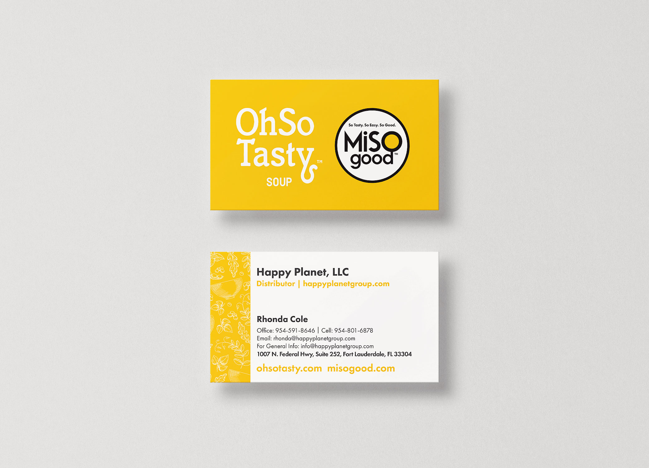 MiSOgood yellow and white business cards arranged in stacks to show front and back design.