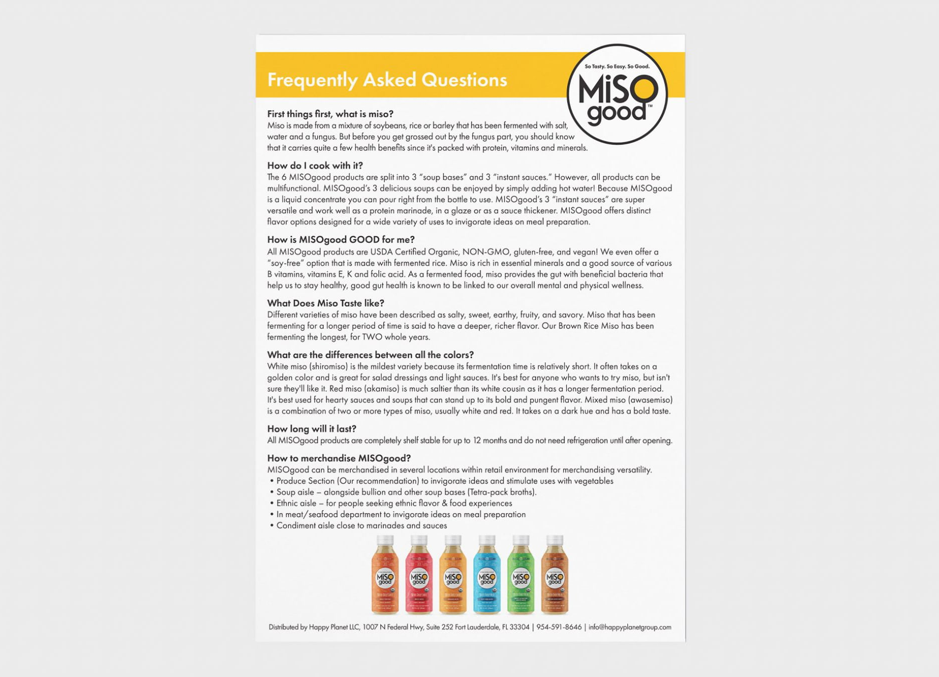 MiSOgood FAQ sheet design answering questions about the product such as, What is miso? and, How do I cook with it?
