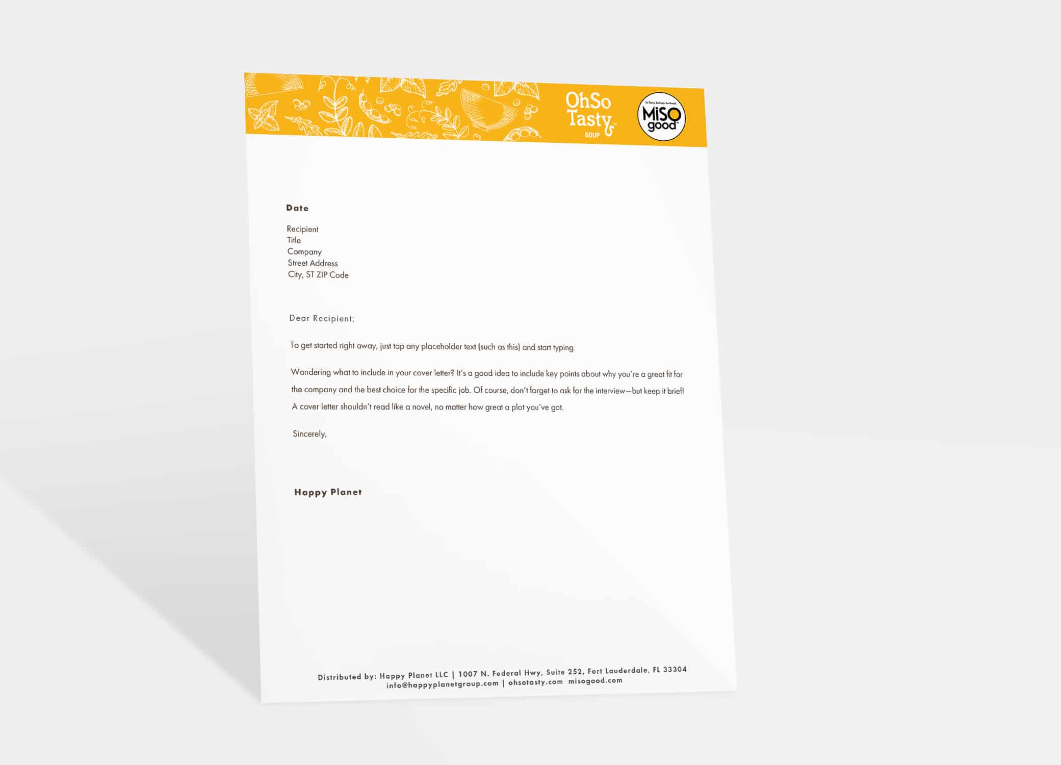 MiSOgood letterhead design with hand-drawn graphics and logo against a vibrant orange background.