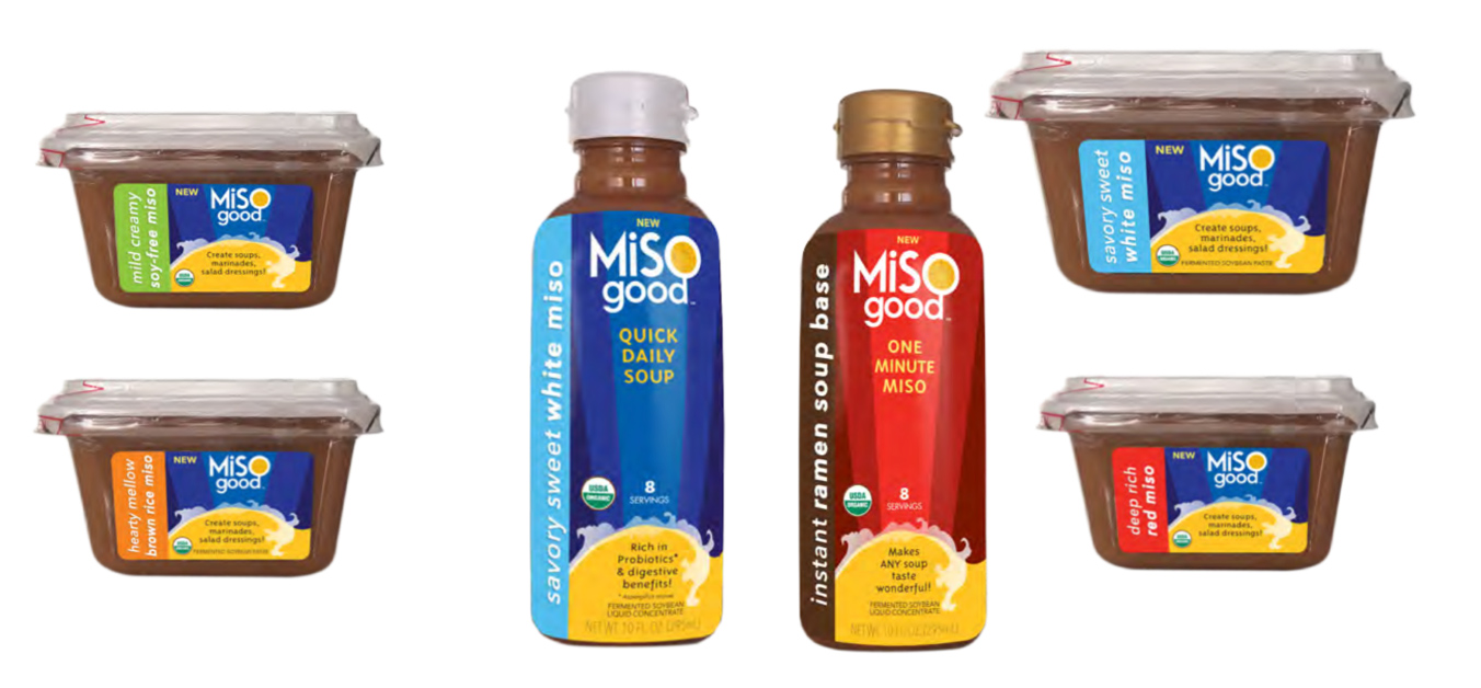 MISOgood packaging before the redesign showcasing different products against white backdrop.