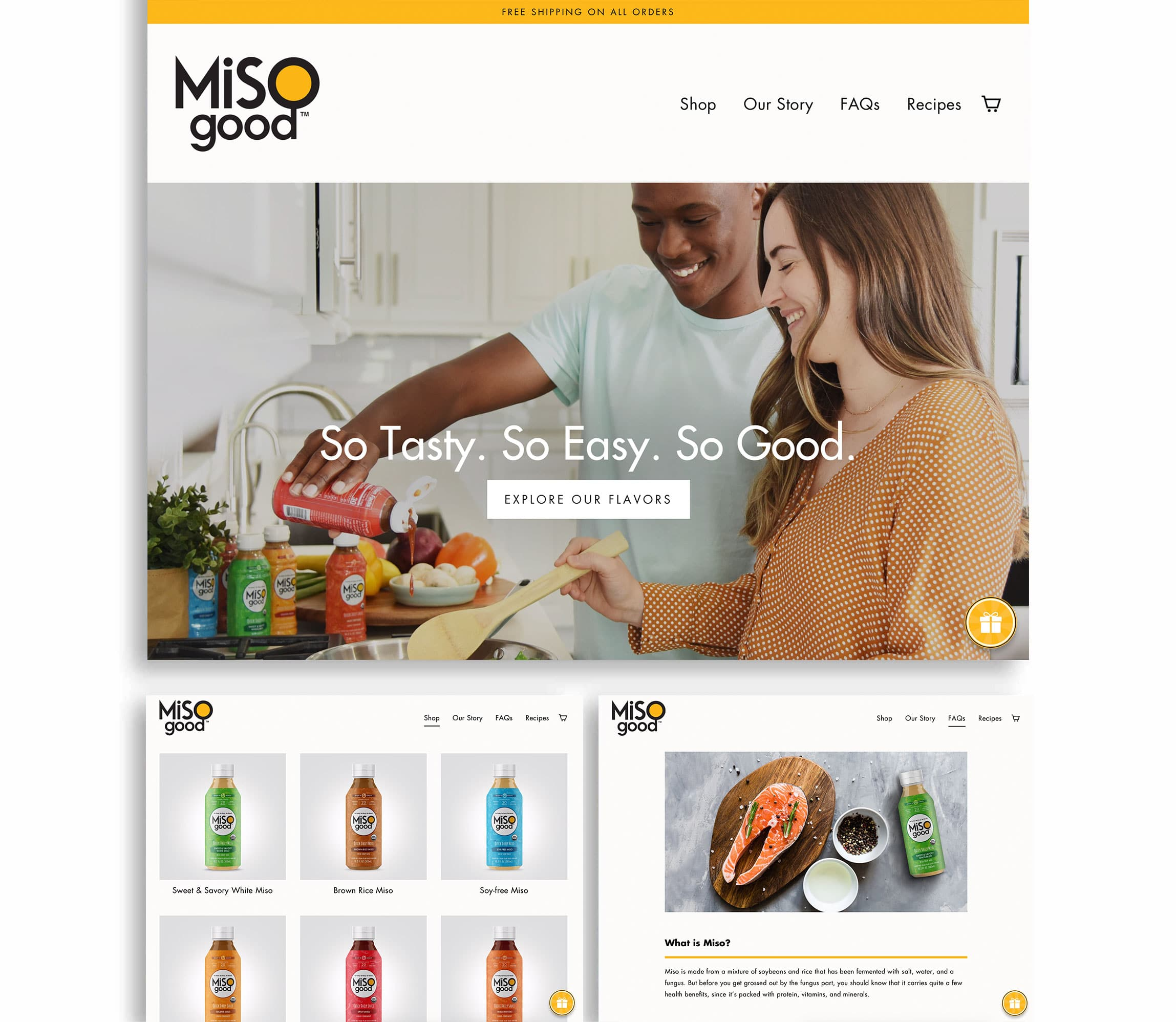 MiSOgood clean website design with hero image of millennial couple cooking together and tagline, So Tasty, So Easy, So Good.