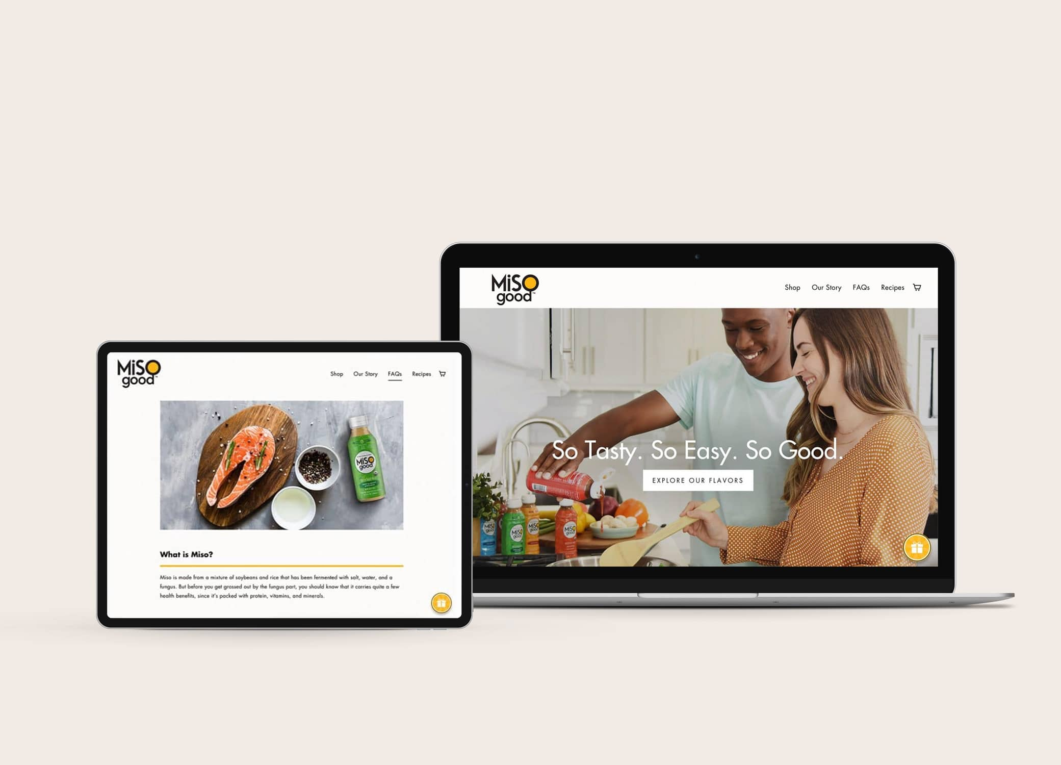 MiSOgood clean website design with graphic design for food packaging and hero image of couple cooking together.