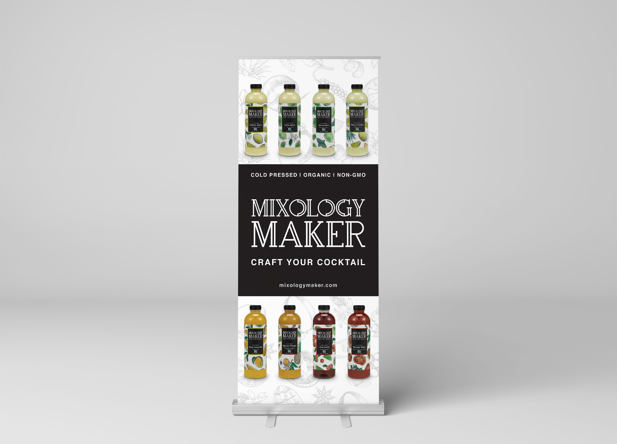 Mixology Maker banner design with black-and-white banded logo in the center and products lining the top and bottom.