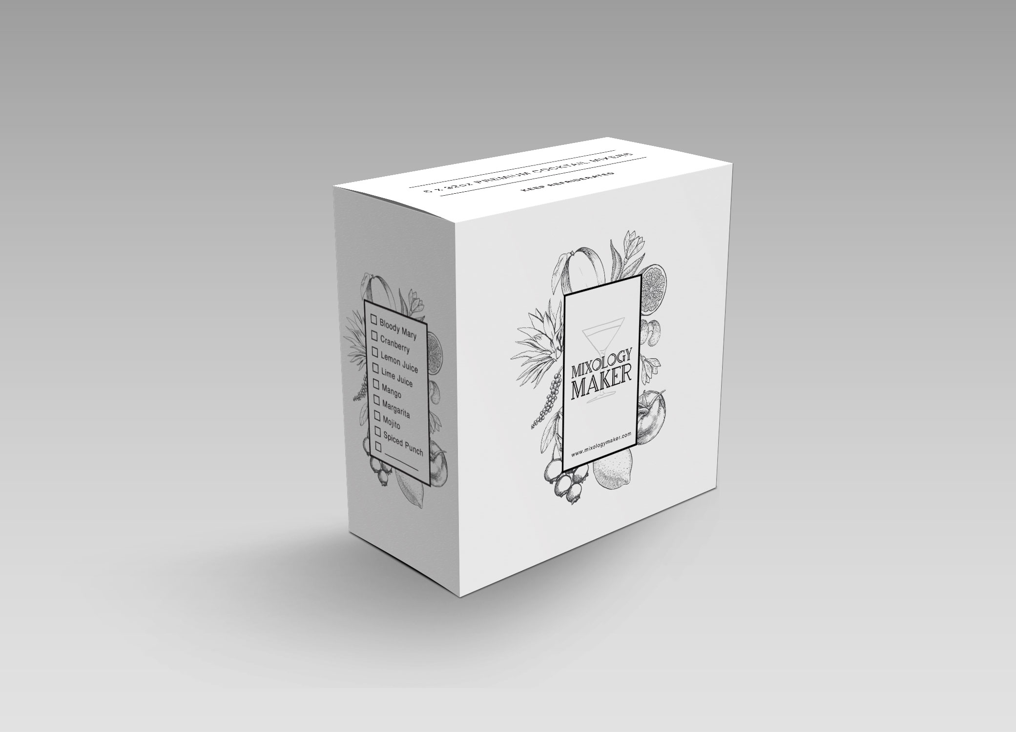 Mixology Maker package box design in black and white with hand drawn fruits on the front and mix flavor list on the side.