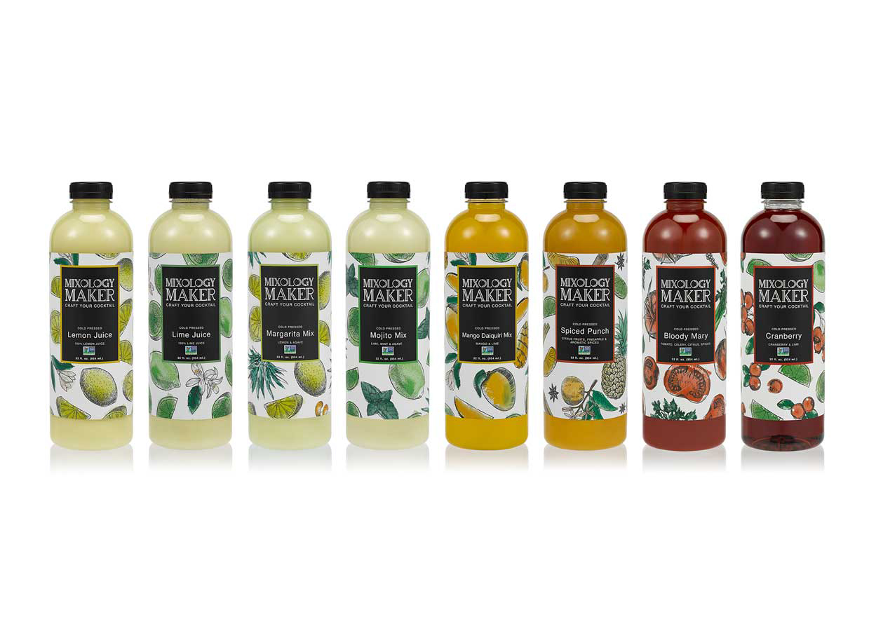 Mixology Maker package product design showing row of bottles with sleek logo and hand drawn fruits on each label.