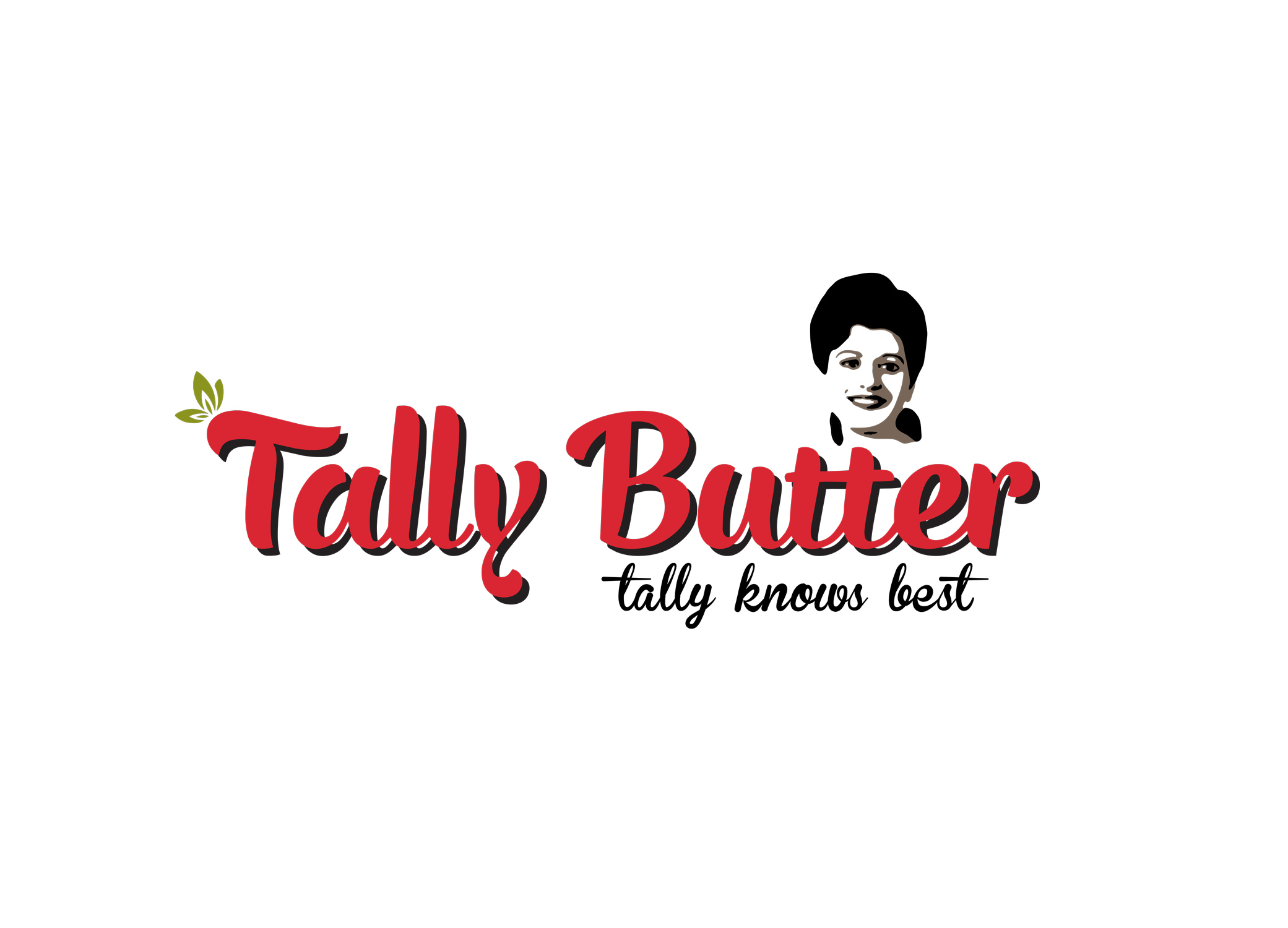 Tally Butter retro logo design with stylized image of Tally herself above the decorative red font.