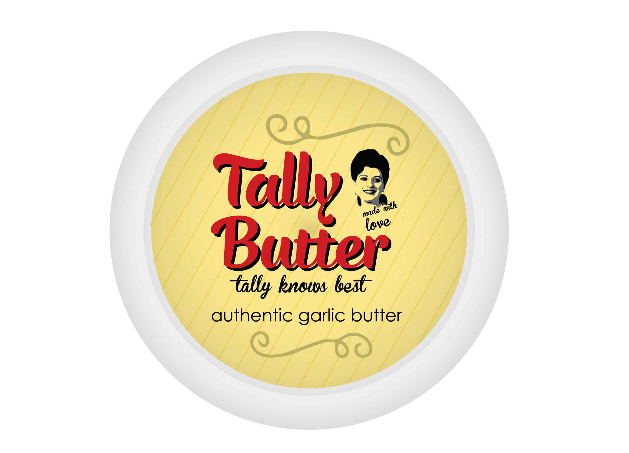 Tally Butter vintage-inspired packaging with logo over soft yellow canister and swirls and garlic clove design elements.