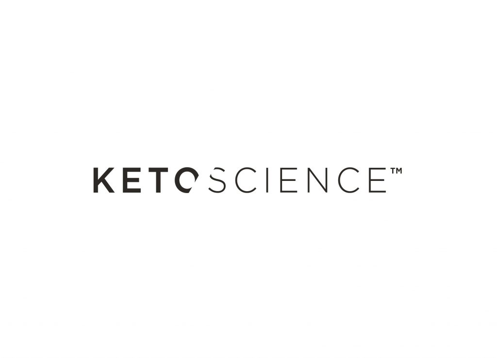 """Keto Science logo design with a band slicing the """"O"""" and """"S,"""" bold font for """"keto,"""" and simple font for """"science."""""""