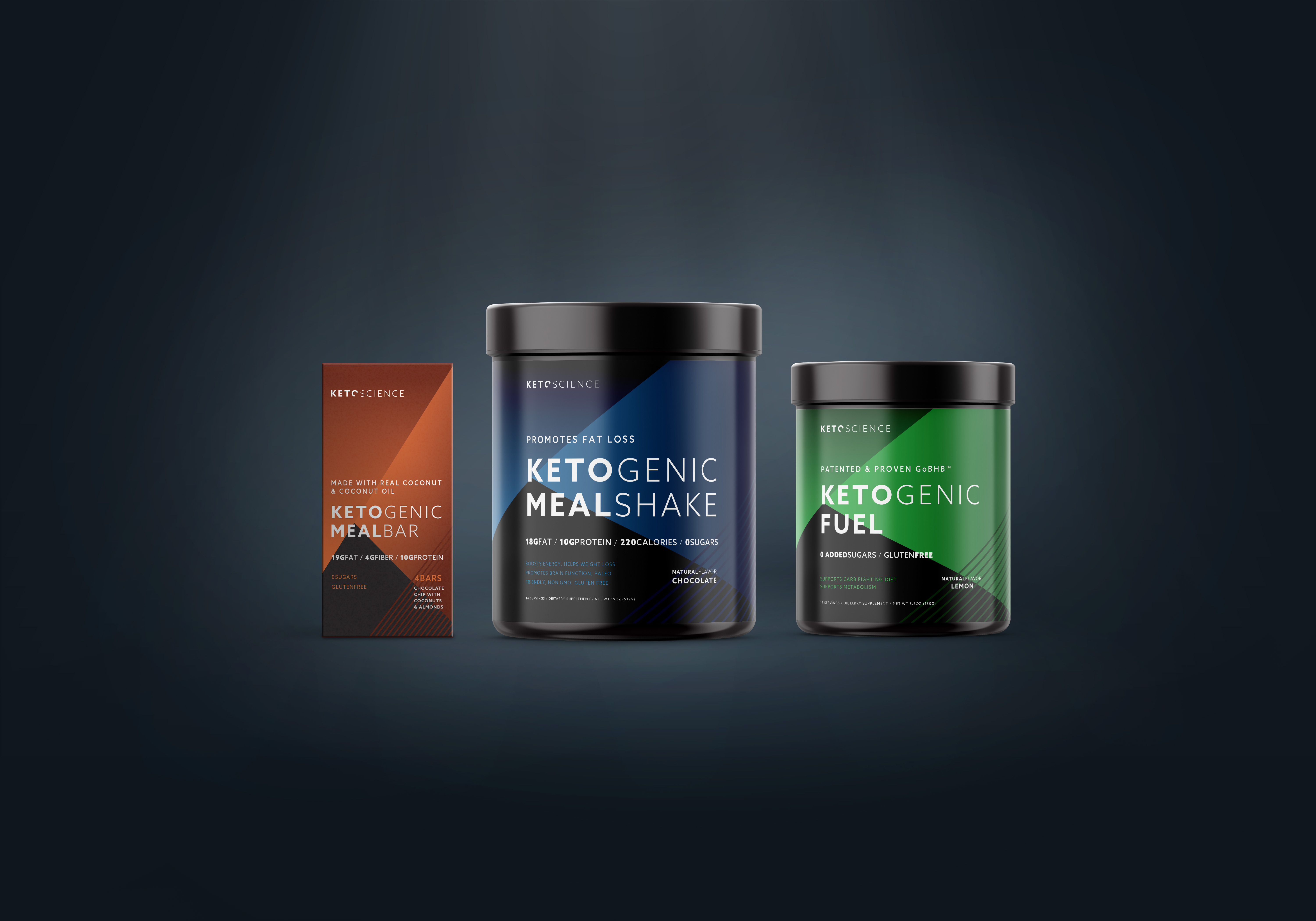 Keto Science packaging design concept for a ketogenic product line incorporating geometric shapes, lines and vibrant colors.