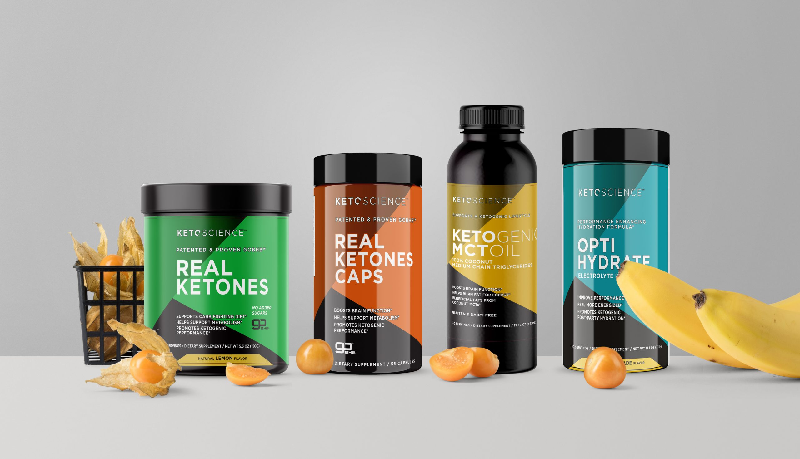 Keto Science image for the website highlighting four product offerings.