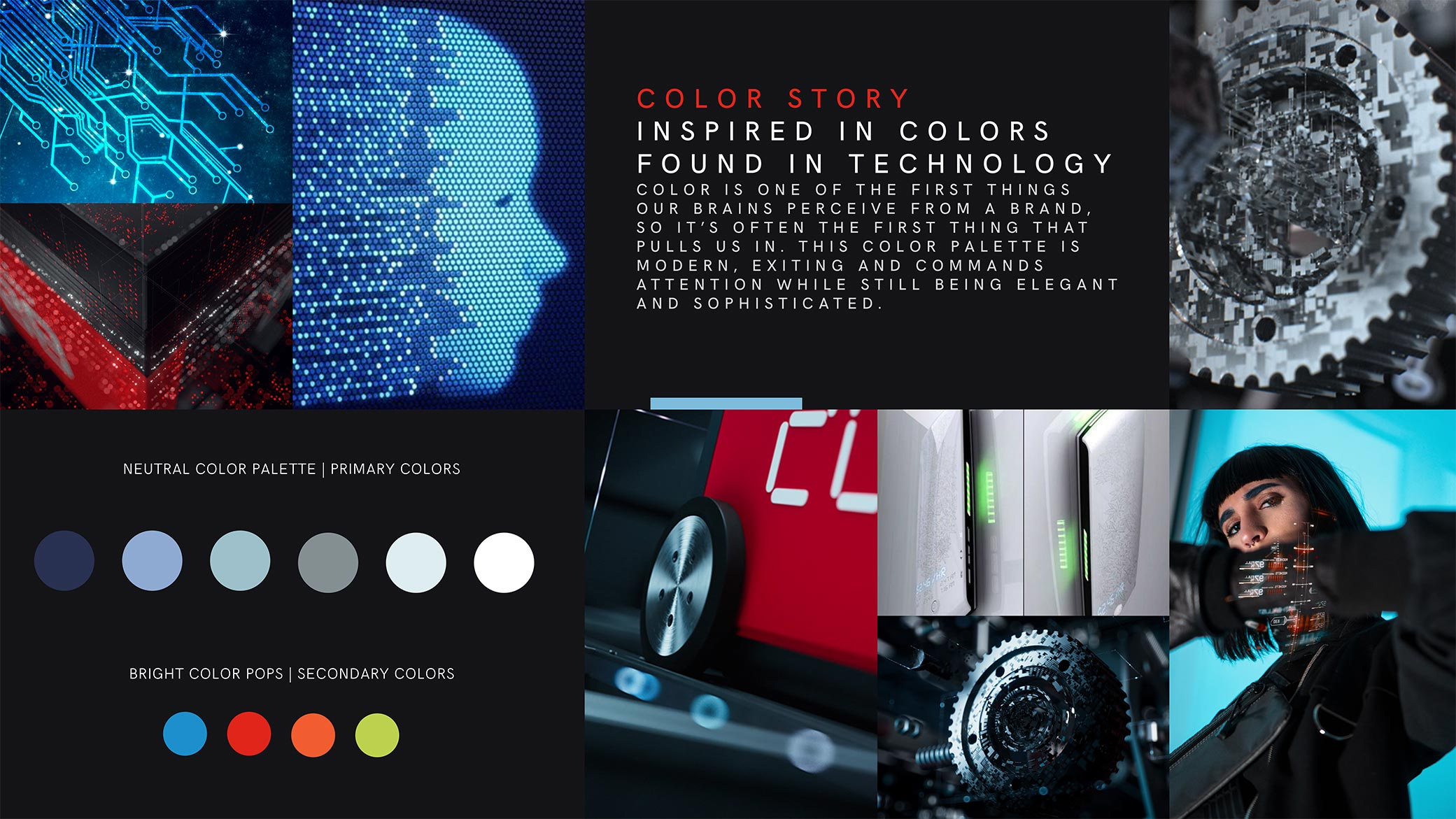 Quartile 3 Robotics branding idea board with bold tech-inspired colors and droid, gear, and circuitry design elements.