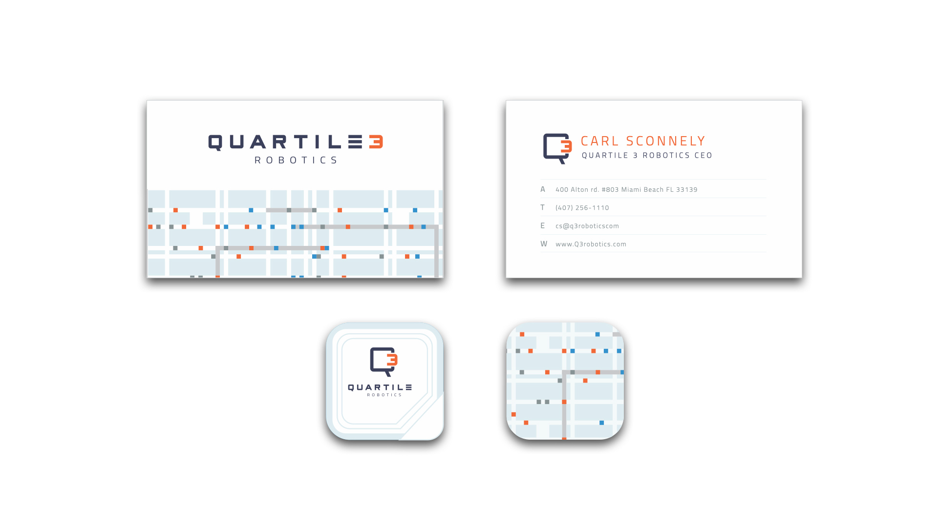 Quartile 3 Robotics business cards and stickers in white, orange, and navy with circuitry design elements.
