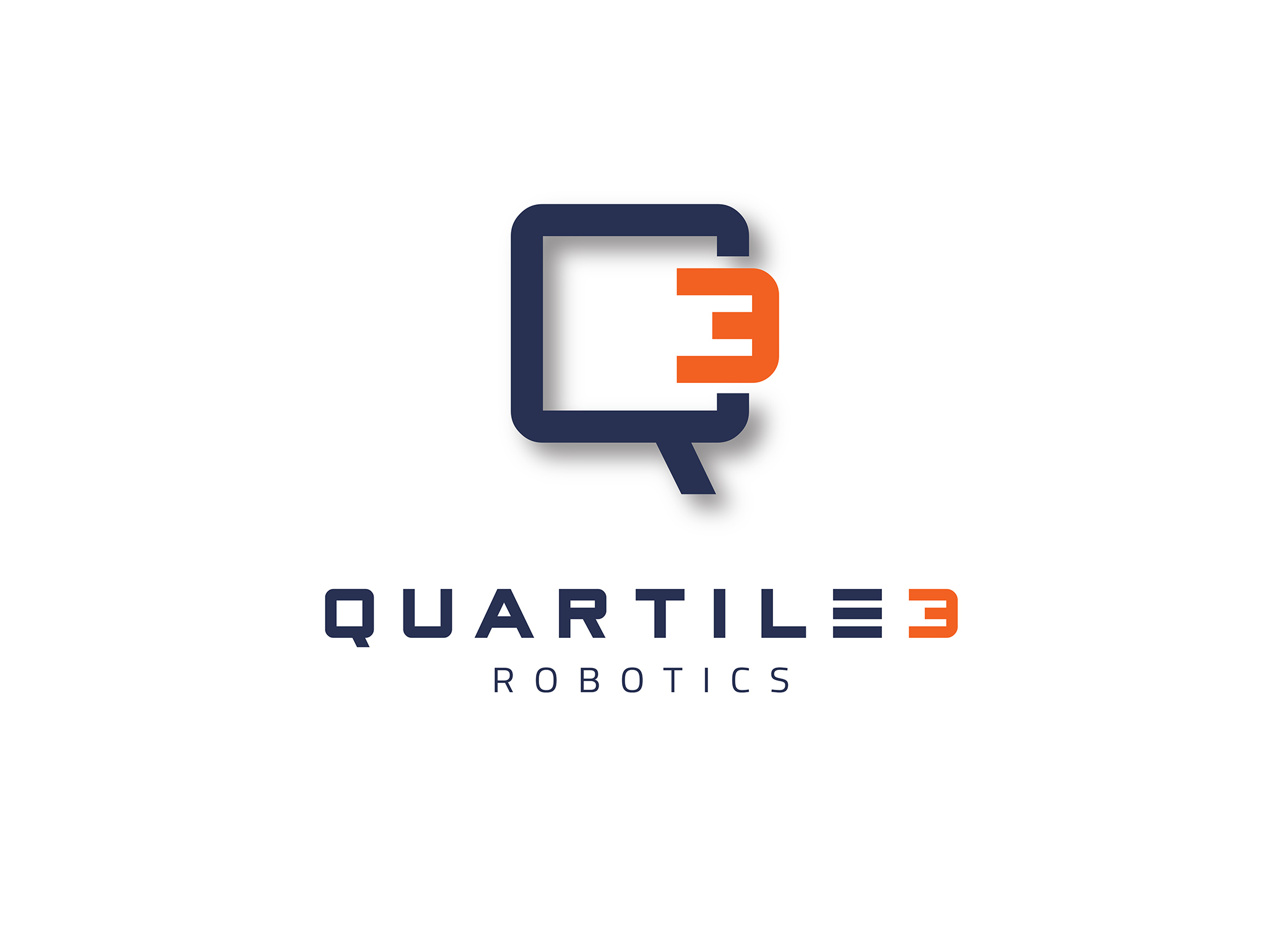 Quartile 3 Robotics droid Q3 logo design in orange and navy, with the 3 plugged into the Q like a socket.