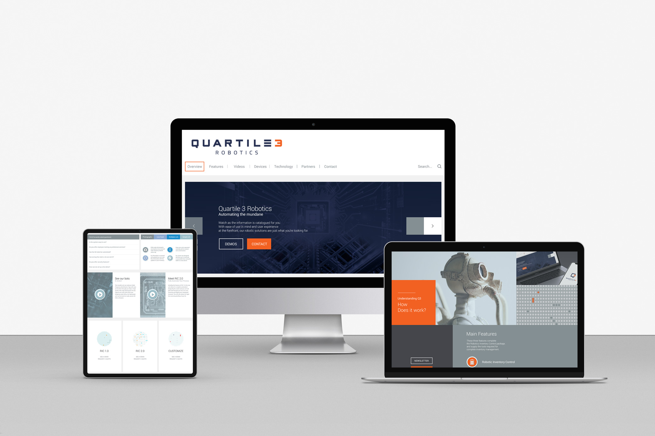 Quartile 3 Robotics technology company web design aligning with the tech-focus of the brand, incorporating sleek images of circuits, droids, and computers.