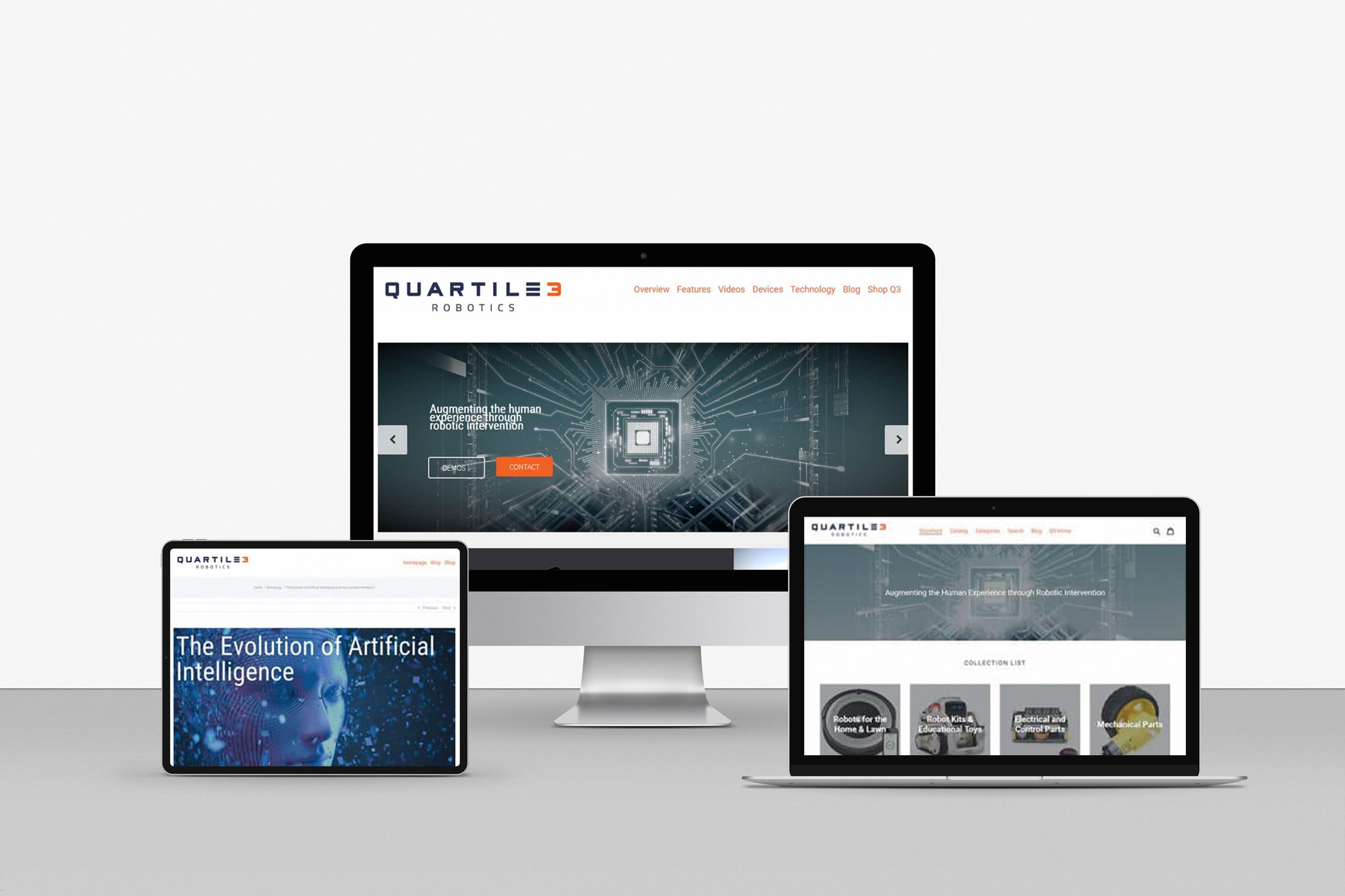 Quartile 3 Robotics technology company web design aligning with the tech-focus of the brand, incorporating images of circuits, droids, and computers.
