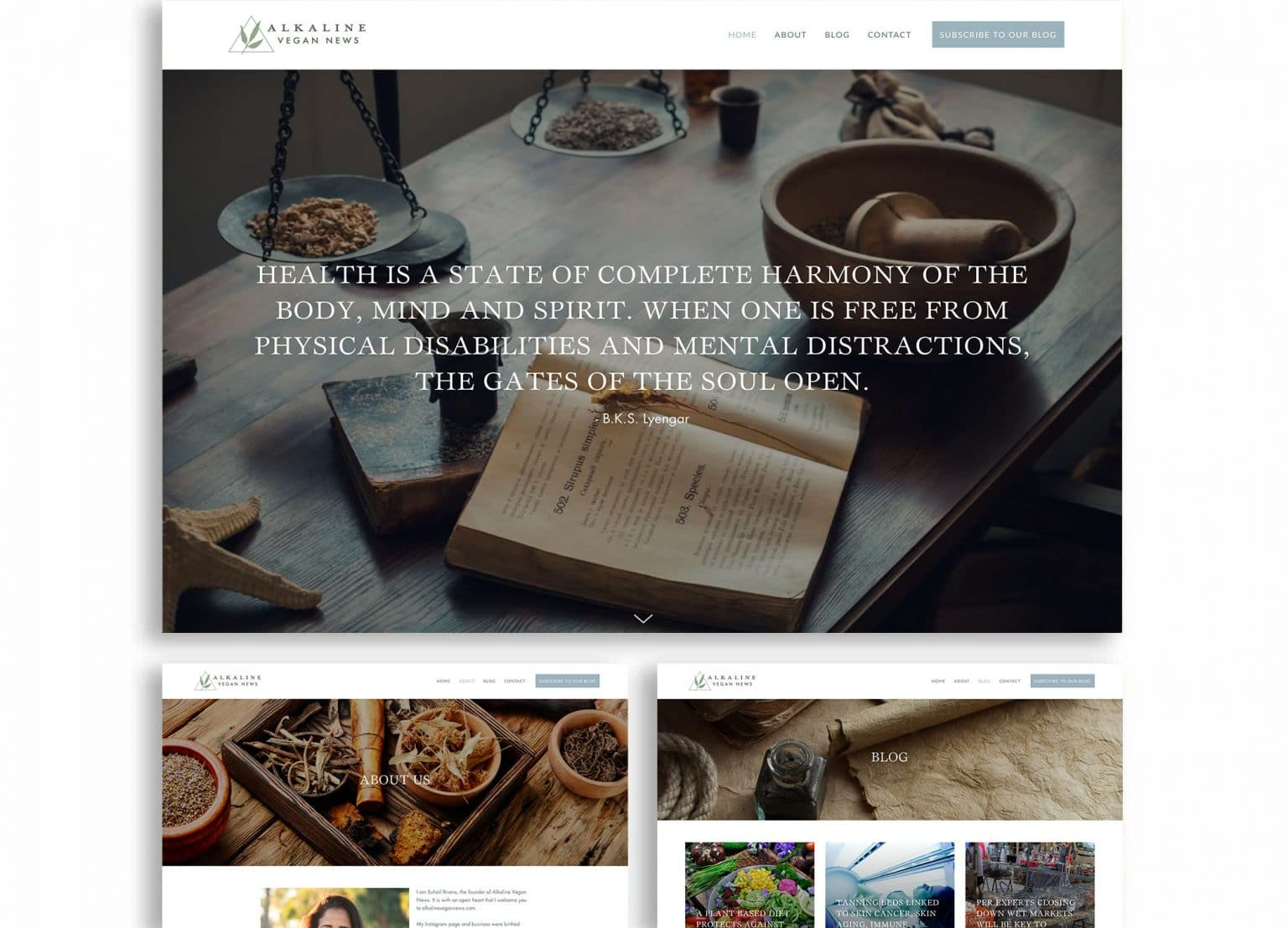 Alkaline Vegan News website homepage design with apothecary images in muted tones of sage green, gray, and black.