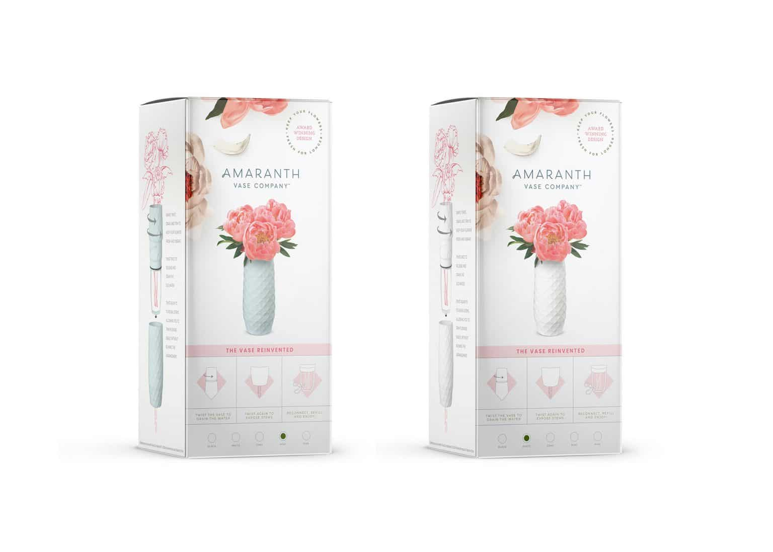 Amaranth Vase product award winning package design box showing pink vase and easy to use instructions.