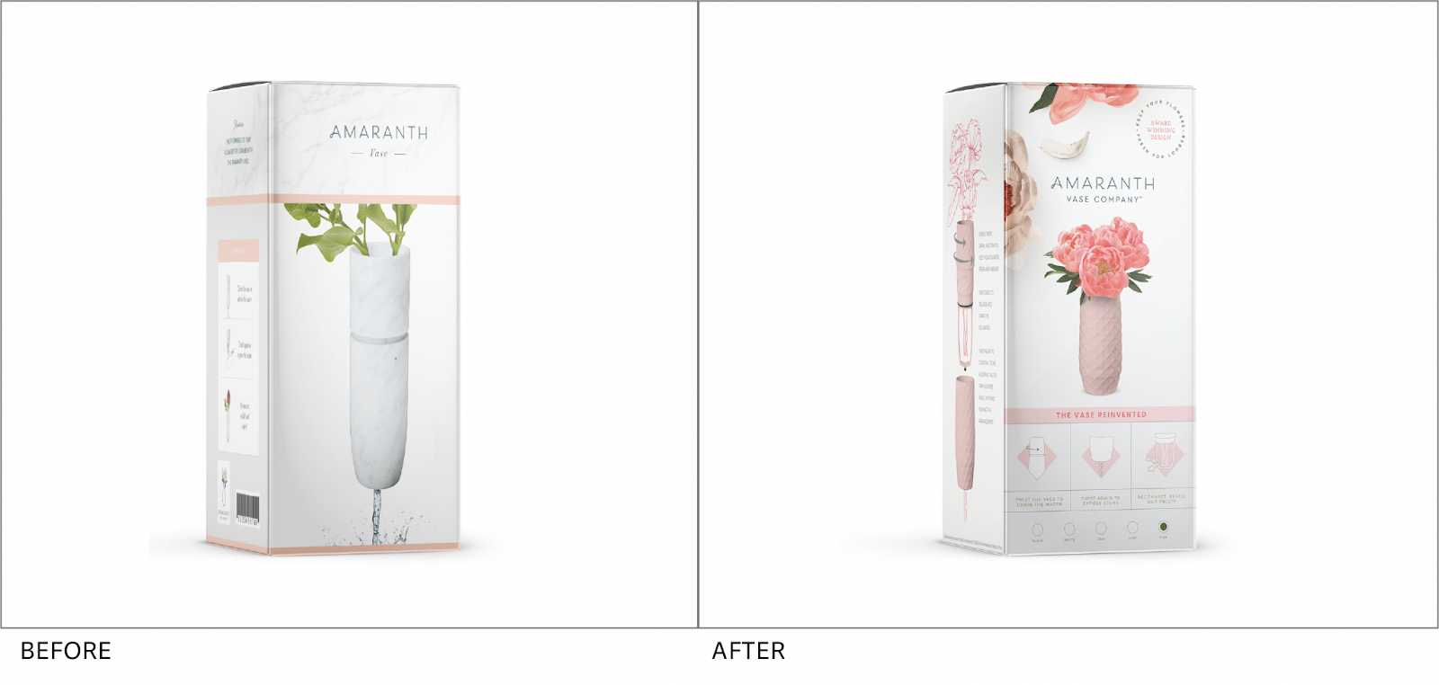 Amaranth Vase box showing the before and after image redesign.
