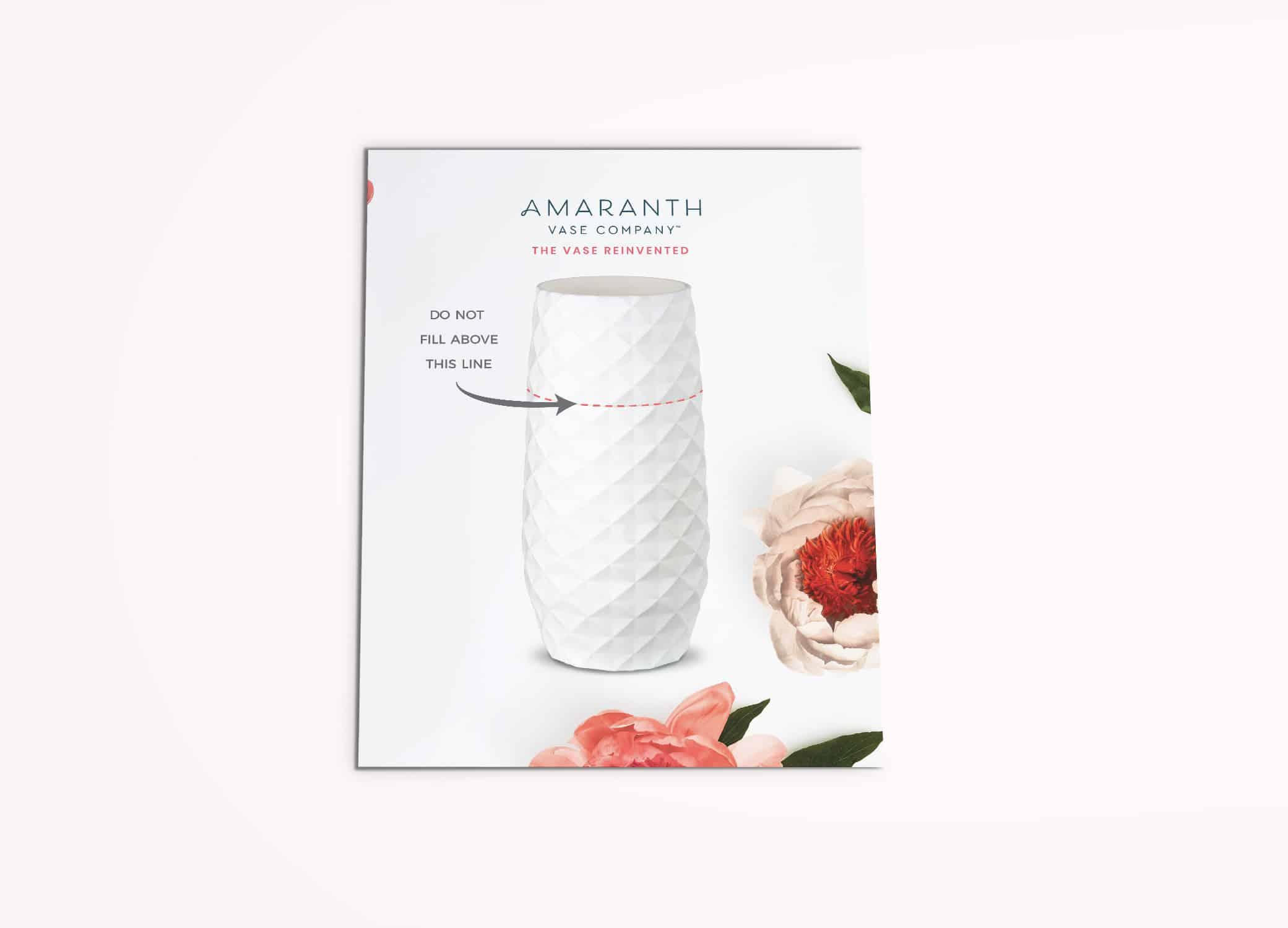 Amaranth Vase instructional postcard against light pink background.