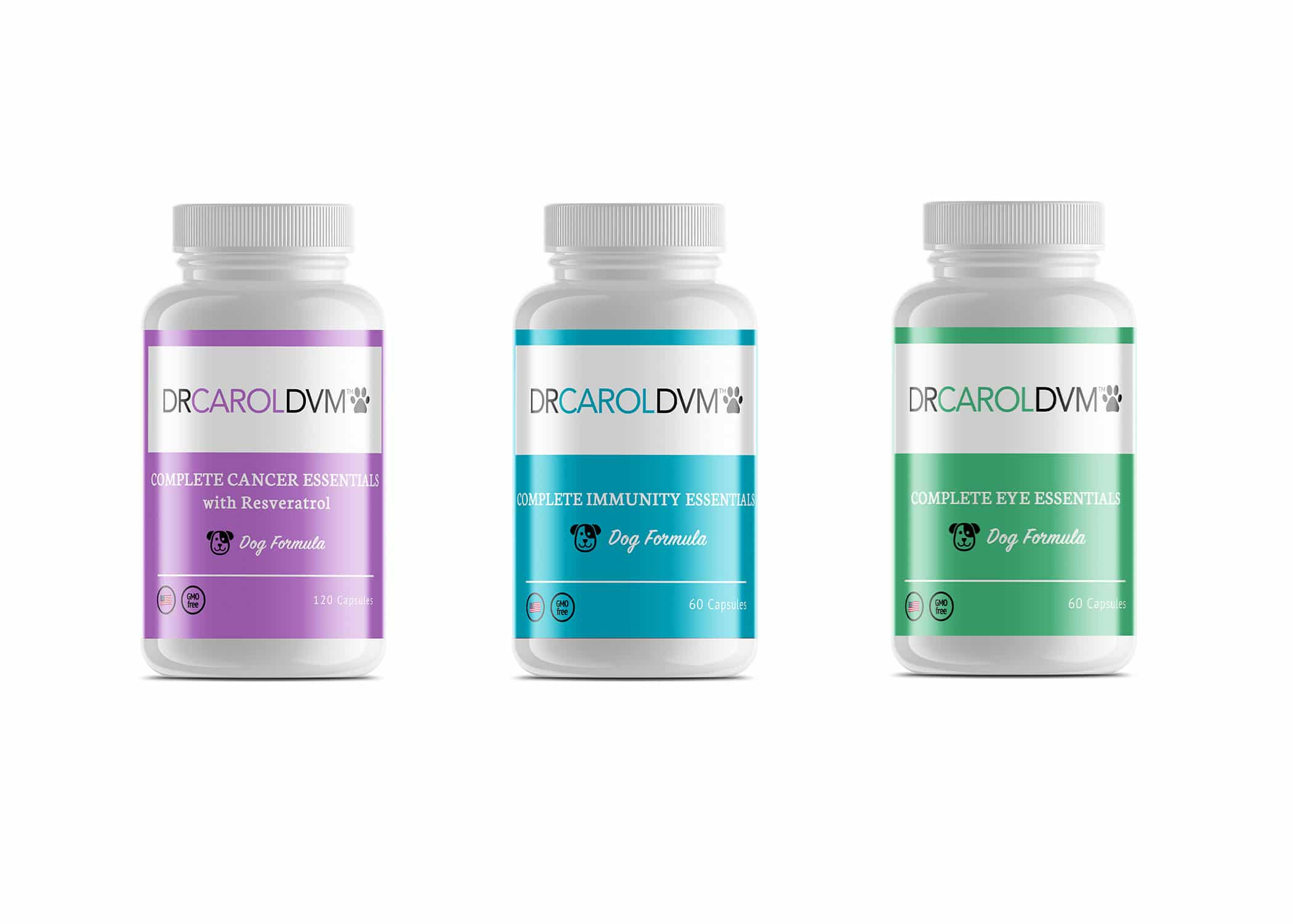 Dr. Carol DVM pet supplement bottle label design in white, blue, purple, and green with friendly dog and cat icons.