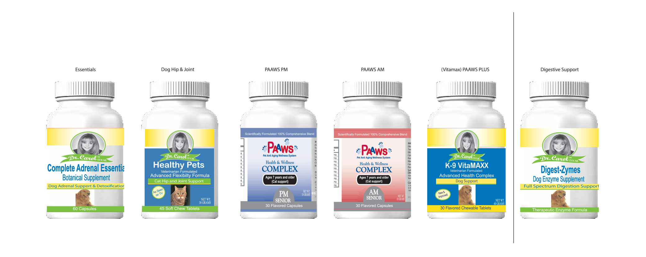 Dr. Carol DVM pet supplement bottle label before the redesign in white, blue, and yellow labels.