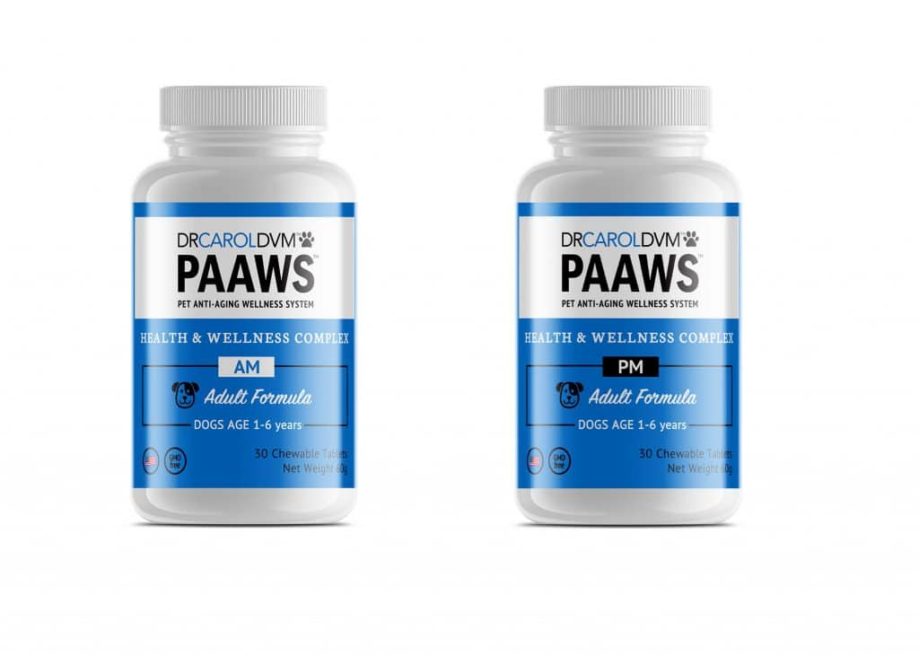 Dr. Carol DVM PAAWS pet supplement bottle label design in black, white, and blue with friendly dog and cat icons.