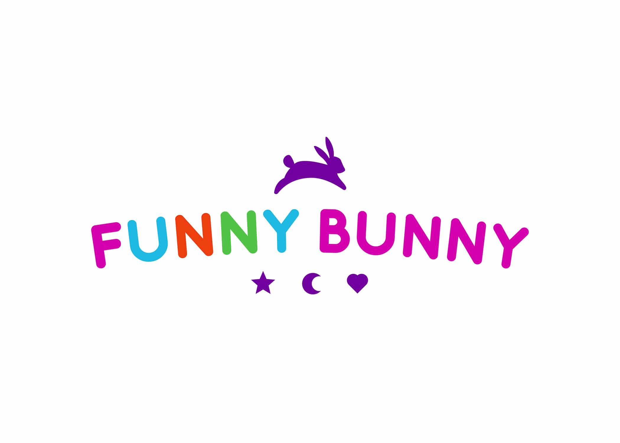 Funny Bunny logo with bright fuschia, purple, blue, orange, green brand colors, and a hopping bunny icon above text.