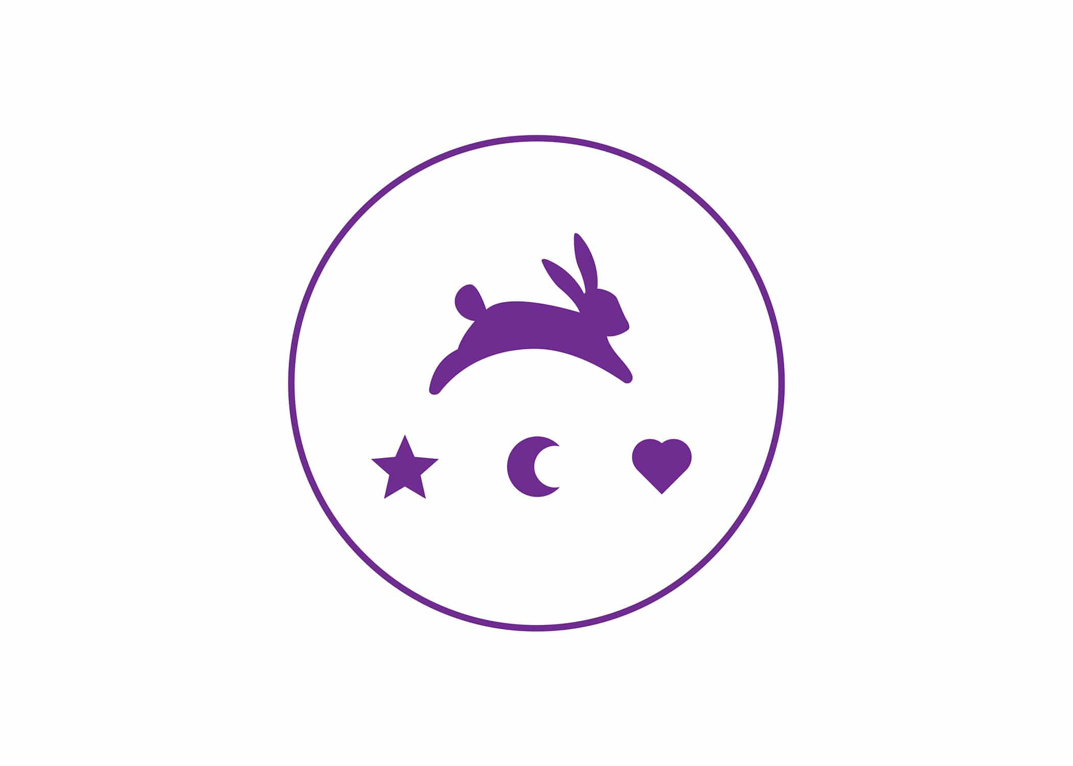 Funny Bunny logo icon with hopping bunny icon, a mini star, moon, and heart in purple within a thin circle.