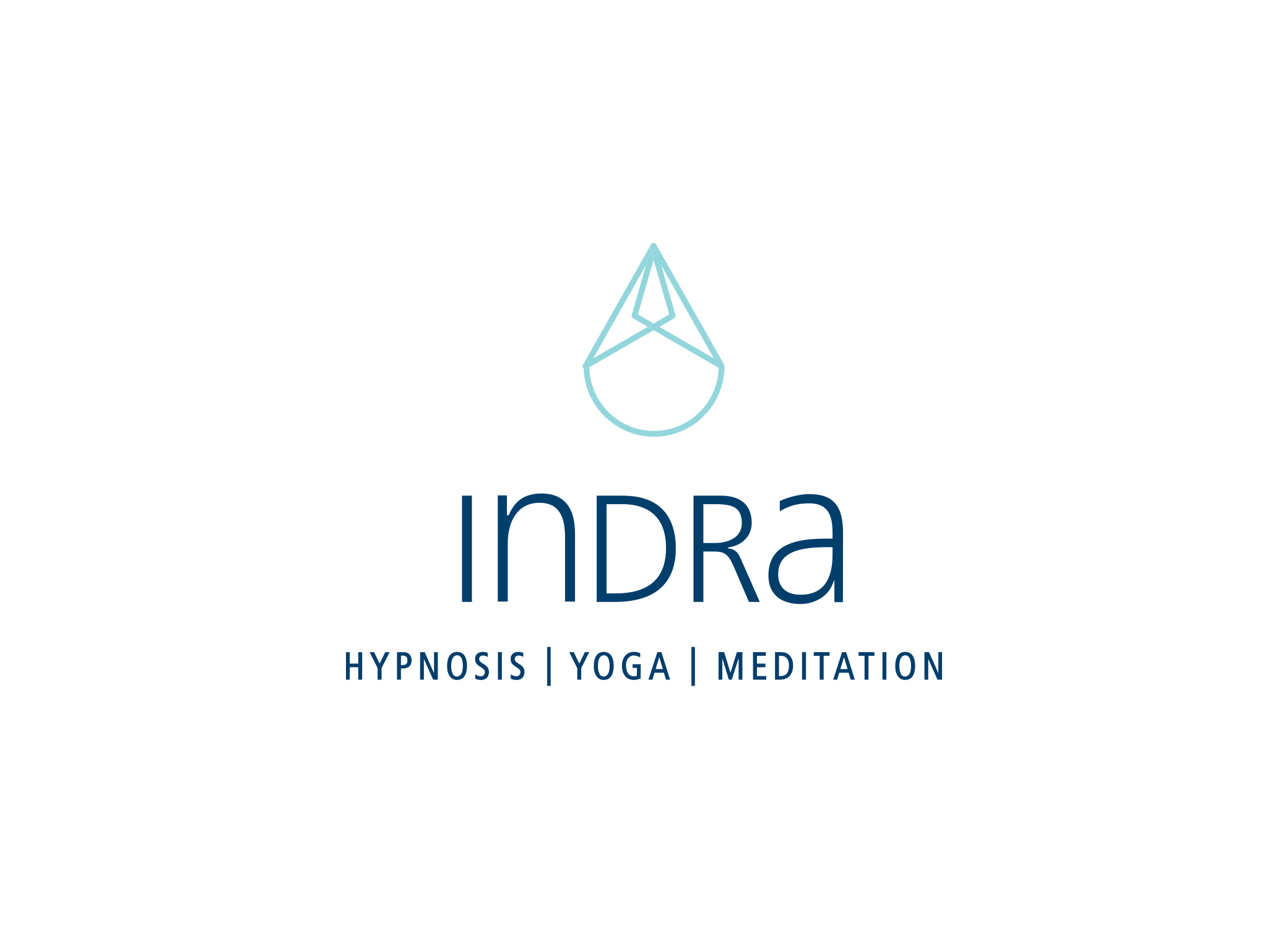 Indra logo design with combination of dark blue and light blue font and water droplet above type.