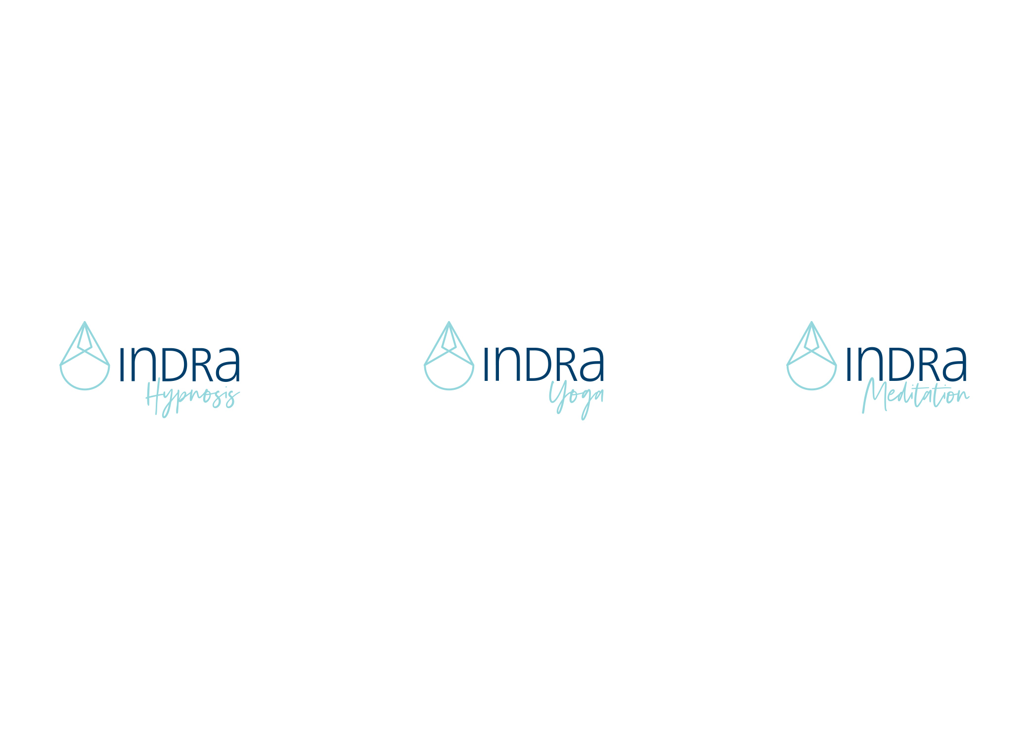 """Indra logo designs showcasing 3 different options with """"hynosis,"""" """"yoga,"""" and """"meditation"""" underneath each design."""
