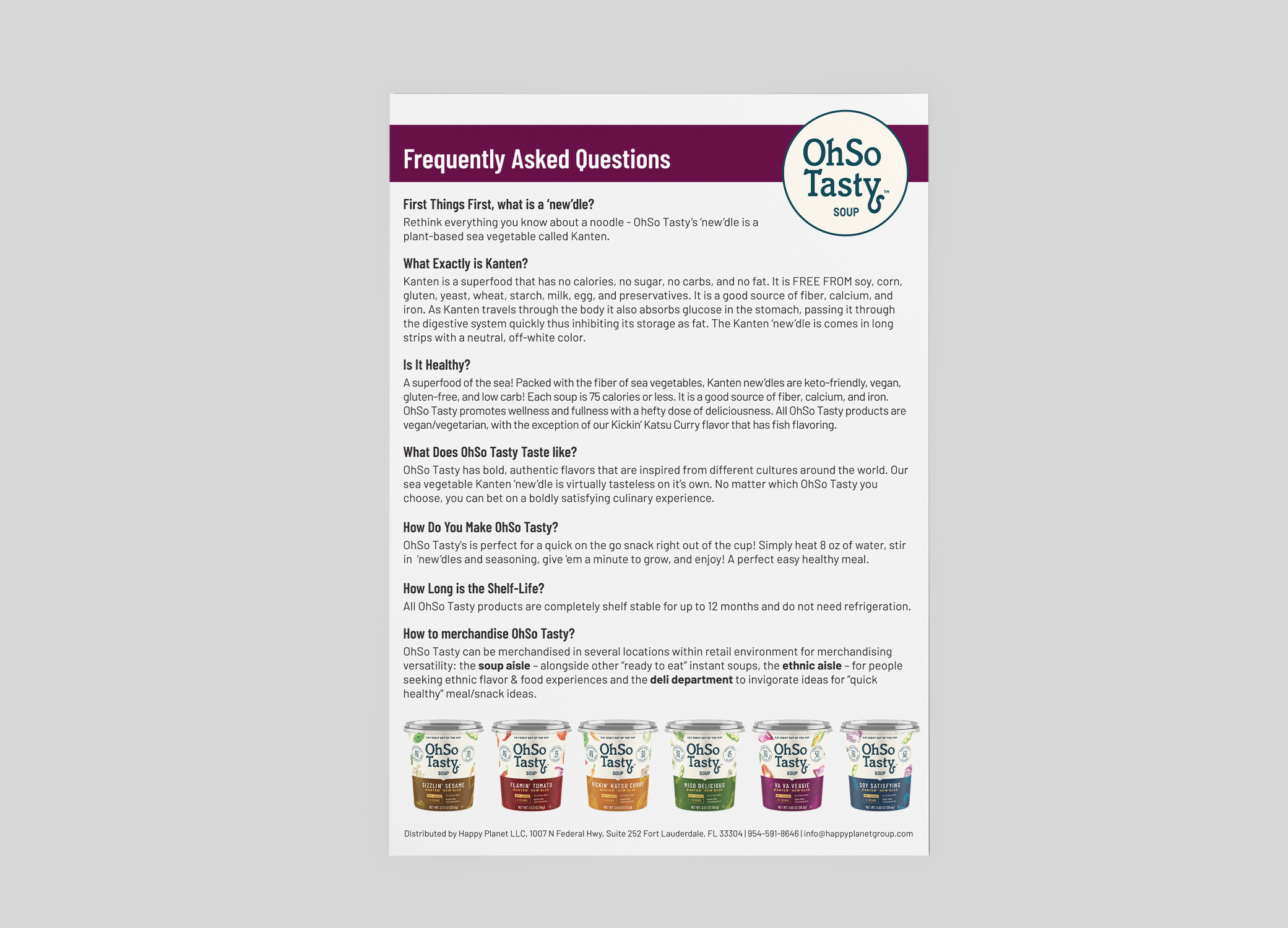 OhSo Tasty FAQ sheet design answering product questions such as, What exactly is Kanten? and, Is it healthy?