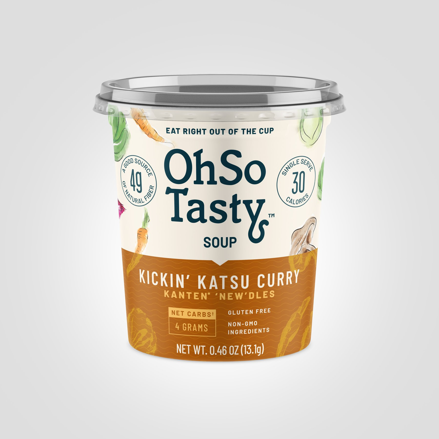 OhSo Tasty 3D mockup of the brand's packaging, providing strong product images with a dark yellow label.