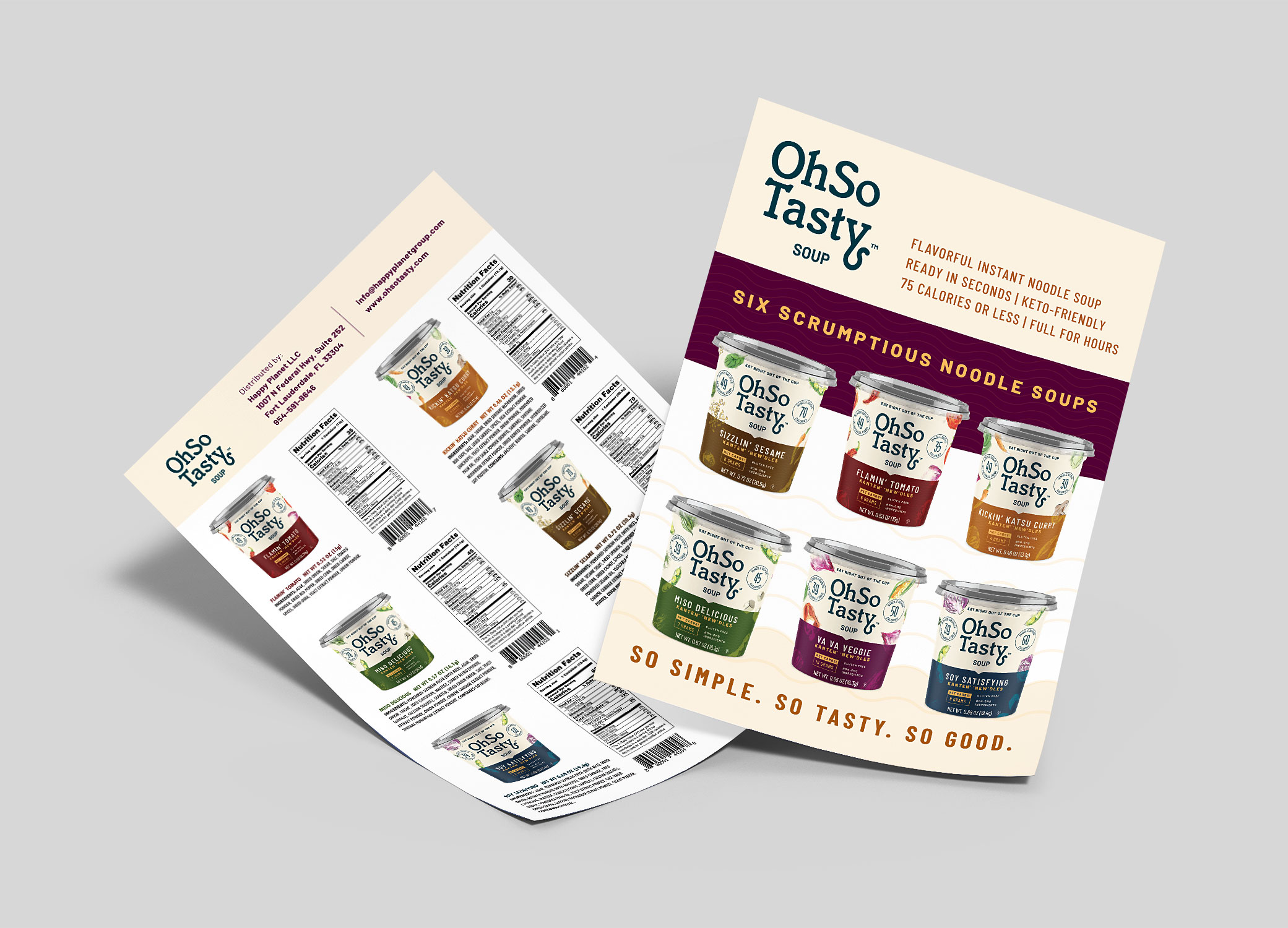 """OhSo Tasty sell sheets showing """"six scrumptious noodle soups"""" and nutrition information for each."""