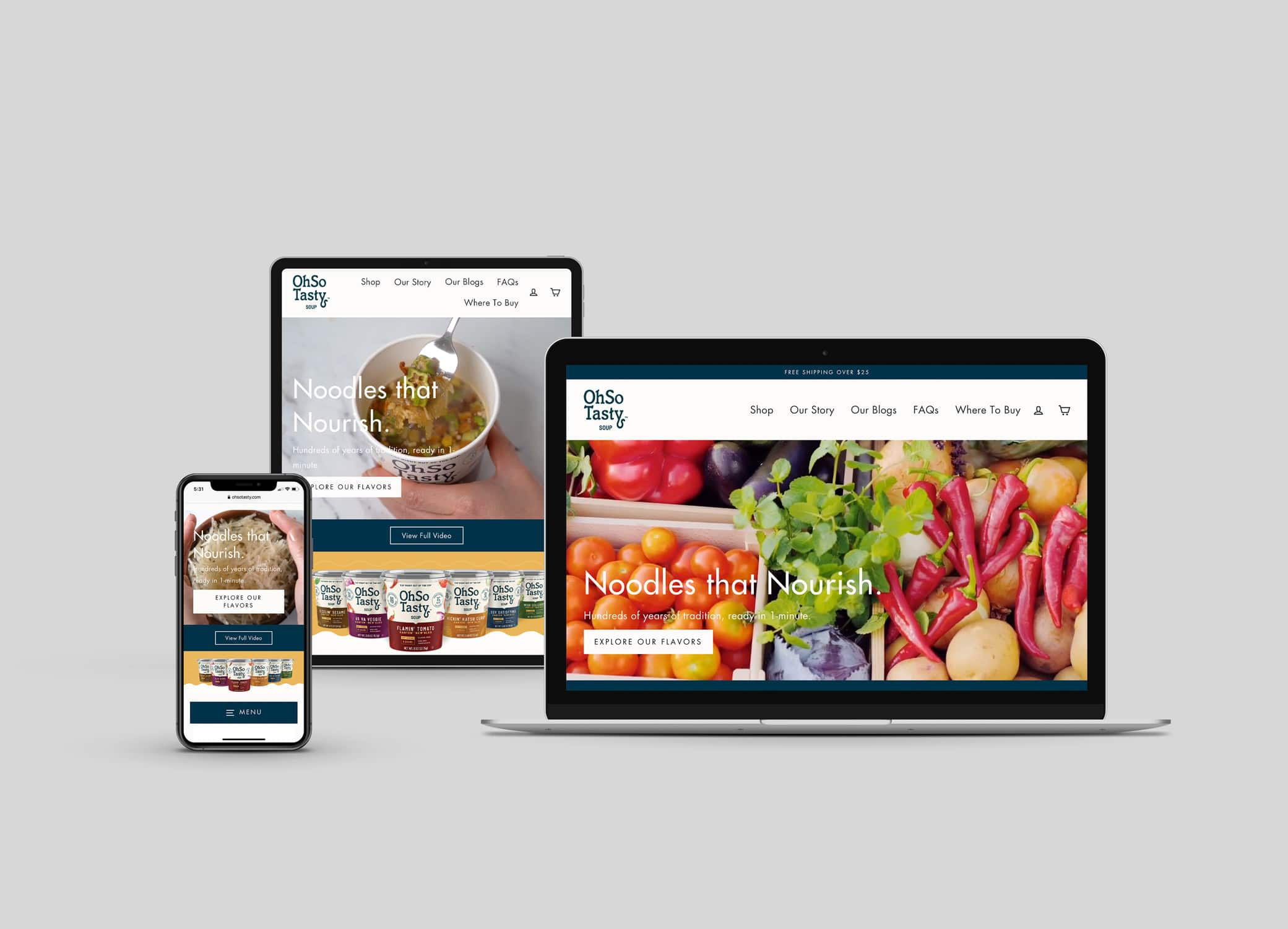 OhSo Tasty food and beverage web design with hero image of a student eating while studying in bed and tagline, Noodles That Nourish.