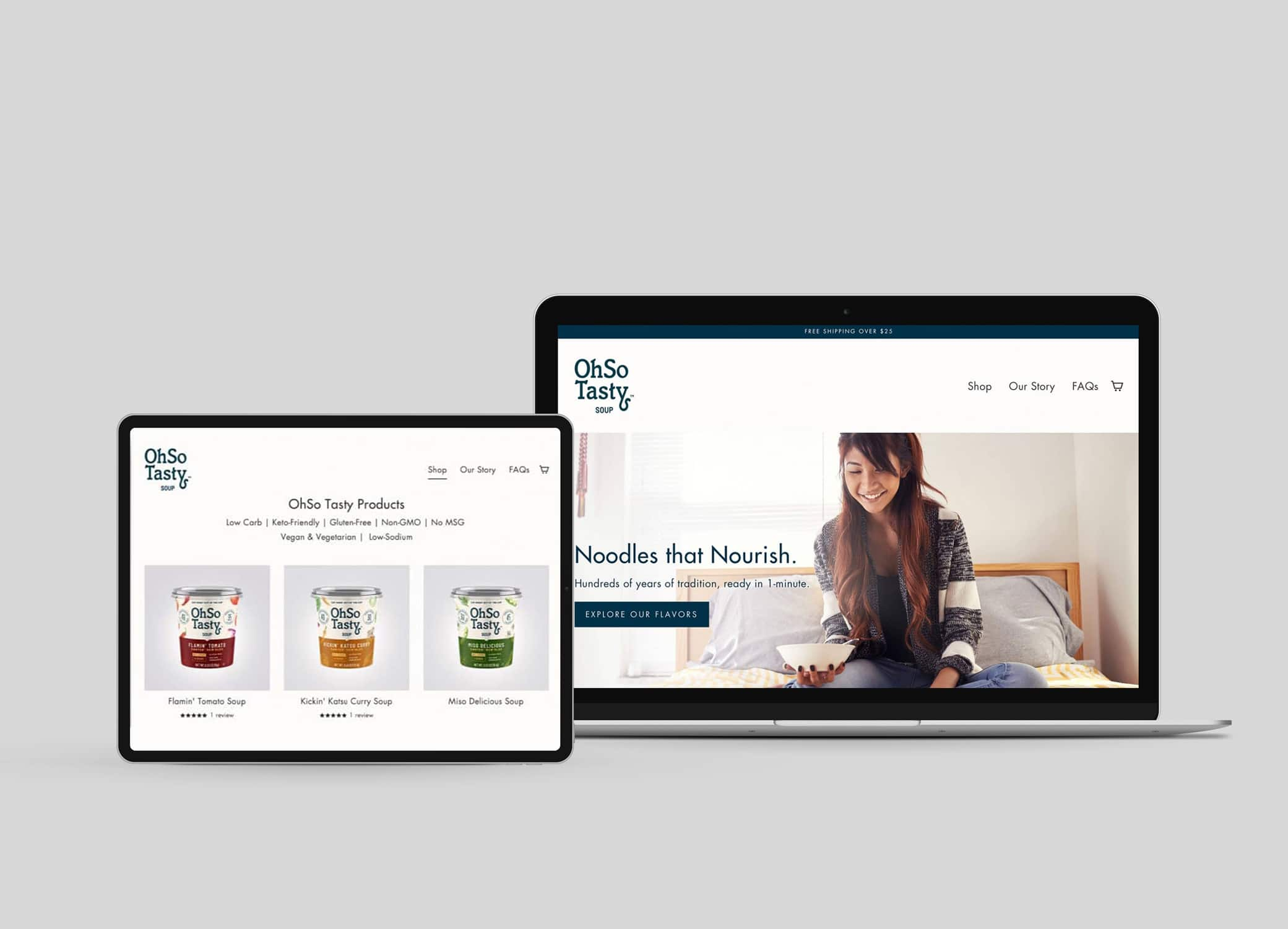 OhSo Tasty food and beverage web design with hero image of a student eating while studying in bed and tagline, soup products displayed.