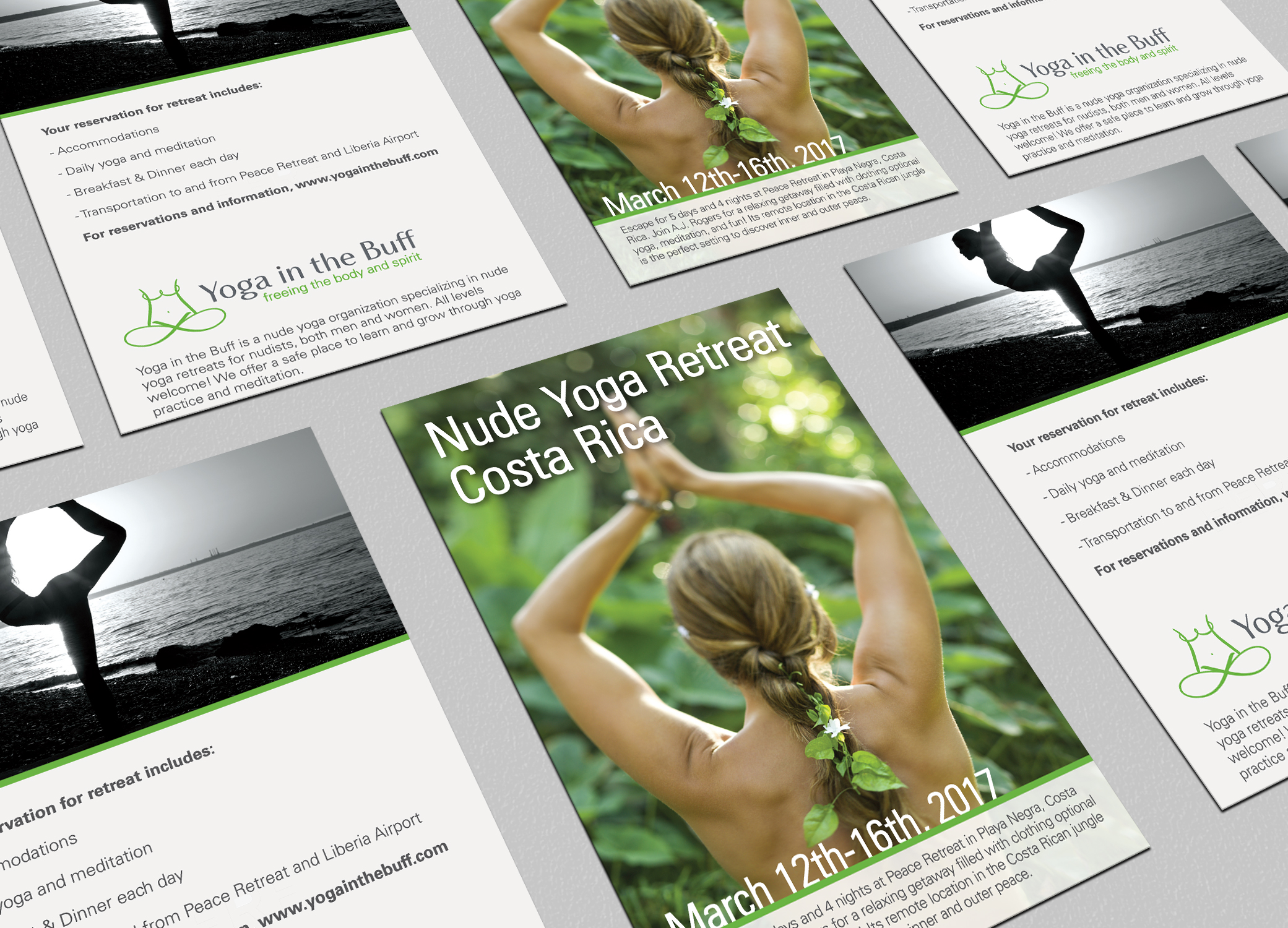 Yoga in the Buff logo flyer design for nude yoga retreat in Costa Rica, arranged in rows showing front and back.