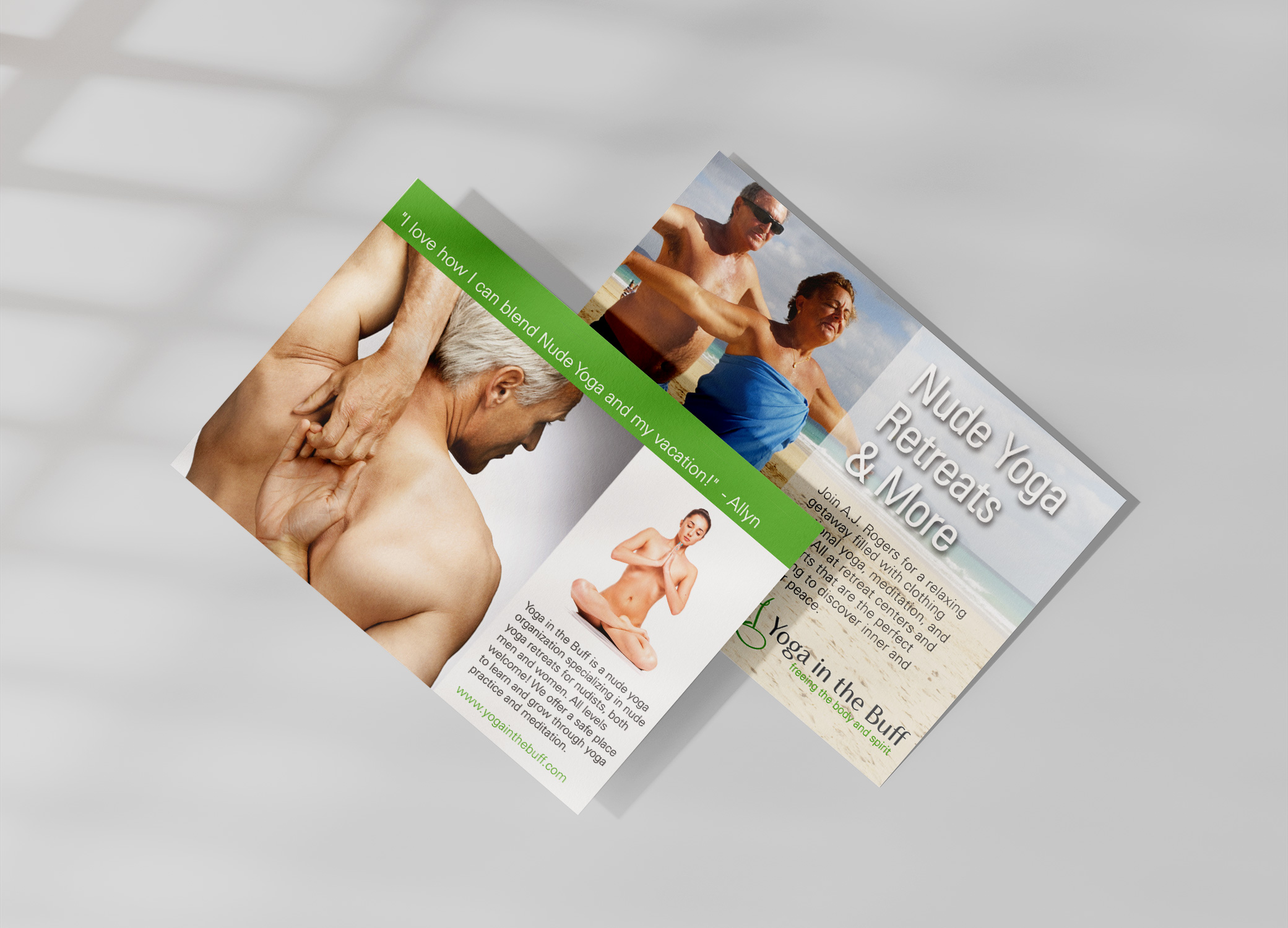 Yoga in the Buff flyer for yoga retreats for older clientele with images of semi-nude practitioners on the beach.