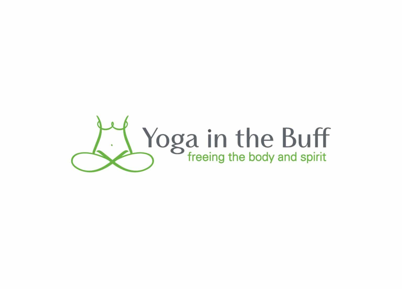 Yoga in the Buff brand identity logo design in green, white, and grey with tagline, Freeing the Body and Spirit.