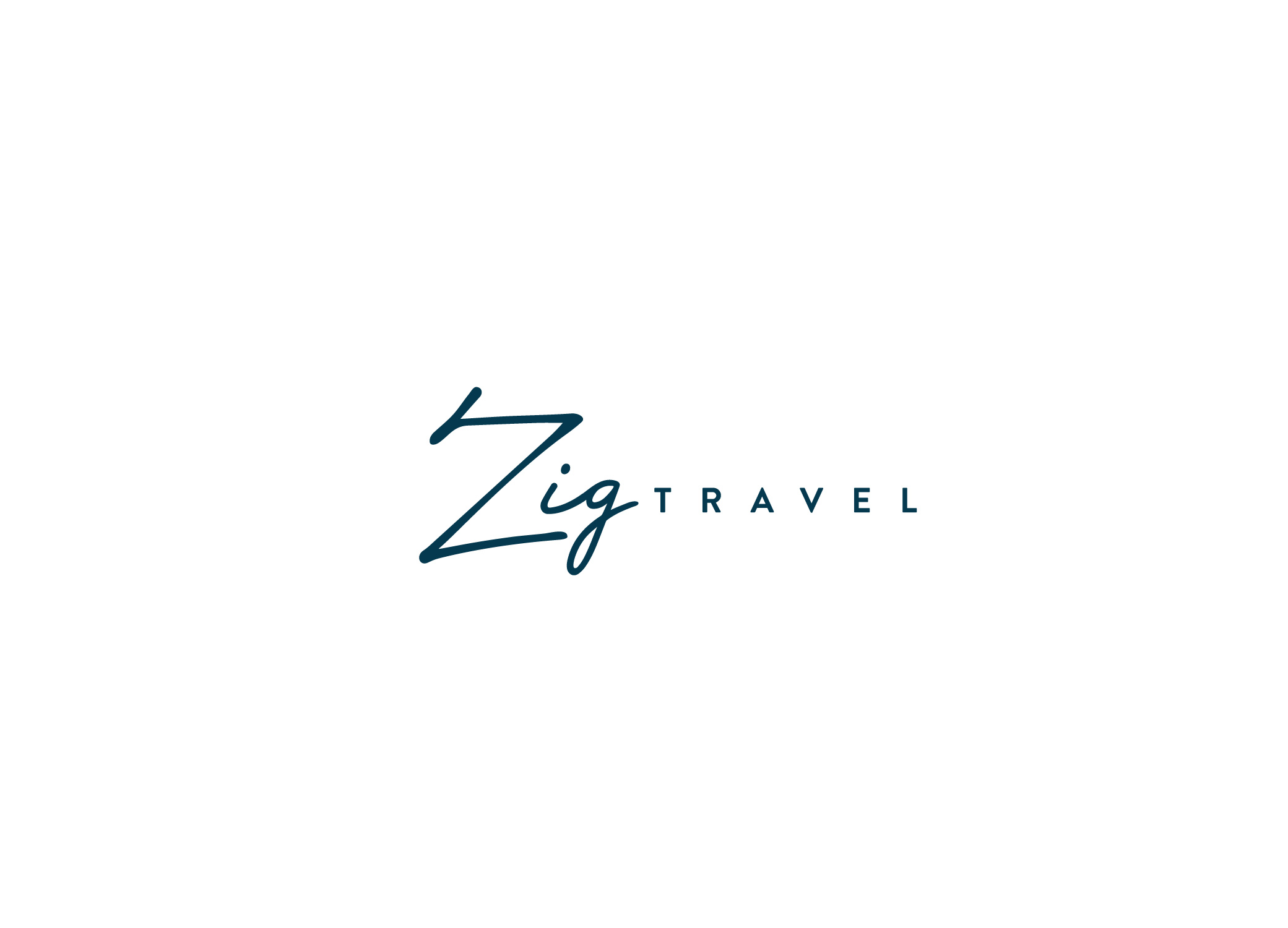 Zig Travel distinguished logo design in navy with Zig in luxurious script font and Travel in a sleek sans serif.