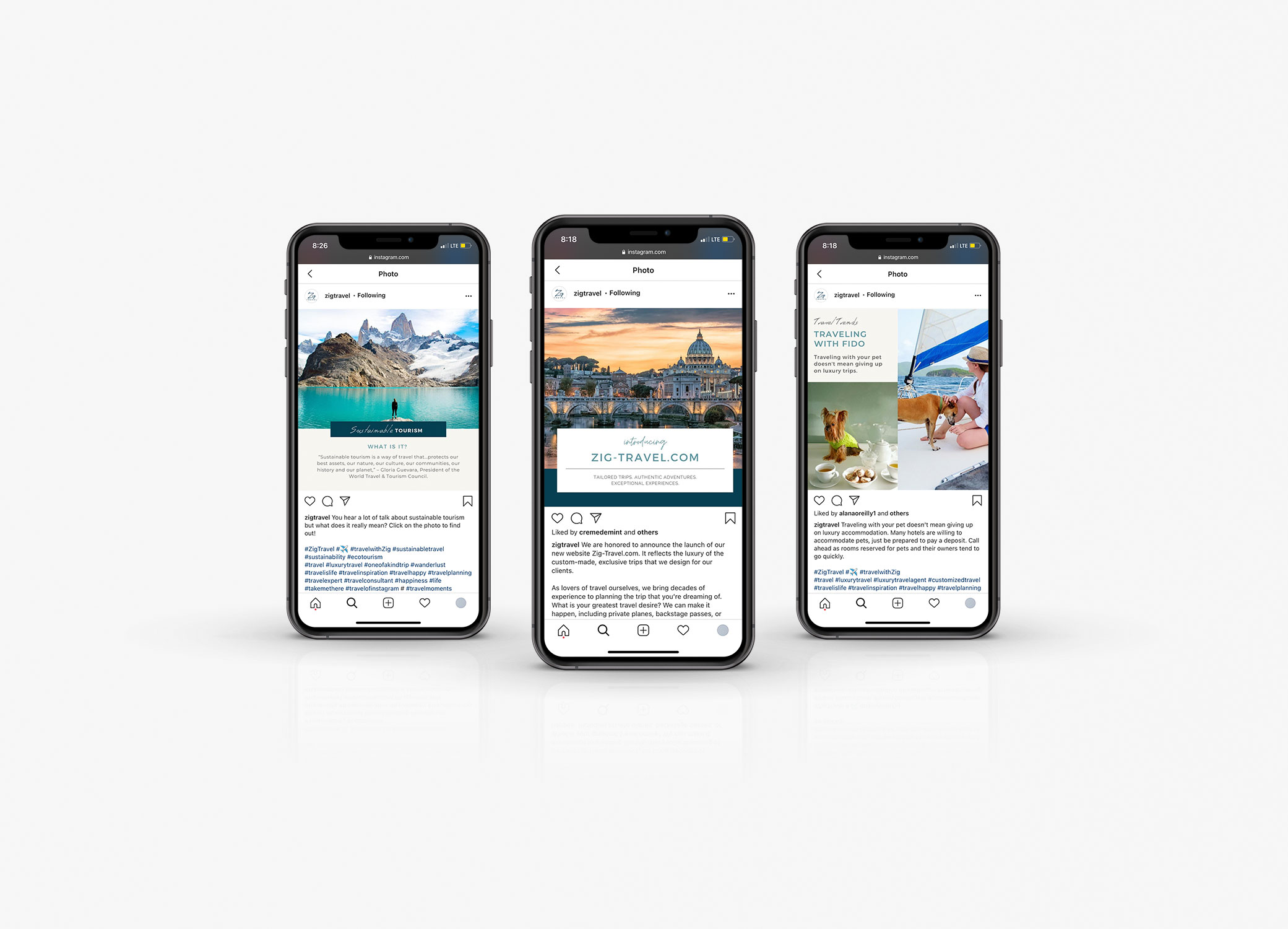 Zig Travel social media branding images in iPhone mockup.
