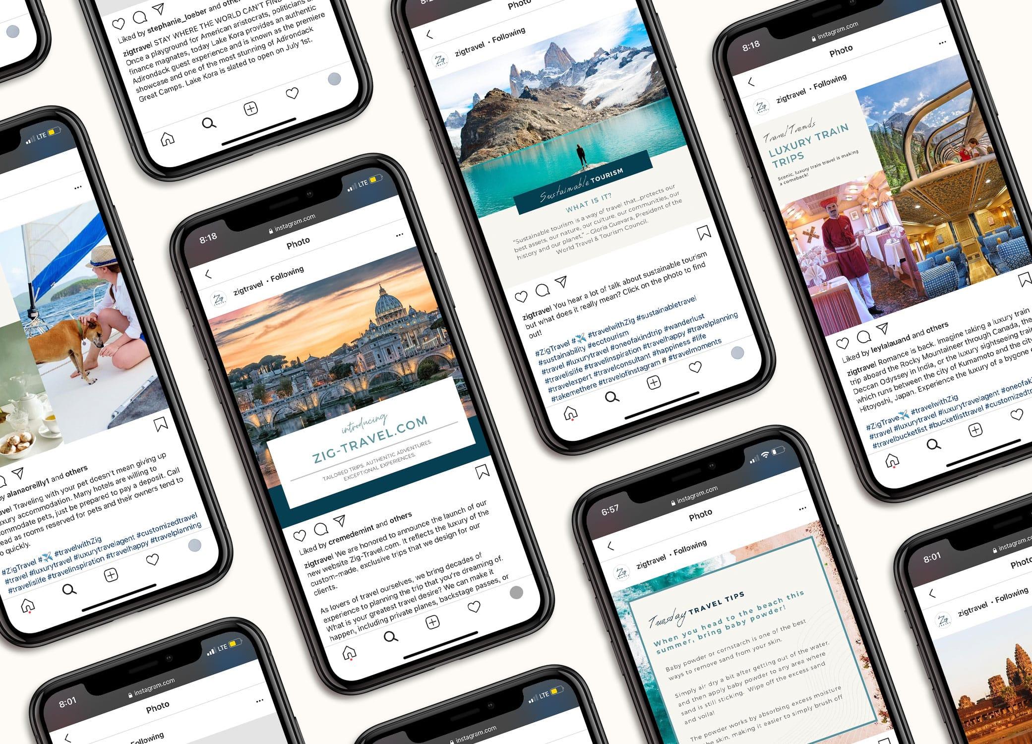 Zig Travel social media branding images in iPhone mockup displayed in alternating rows.