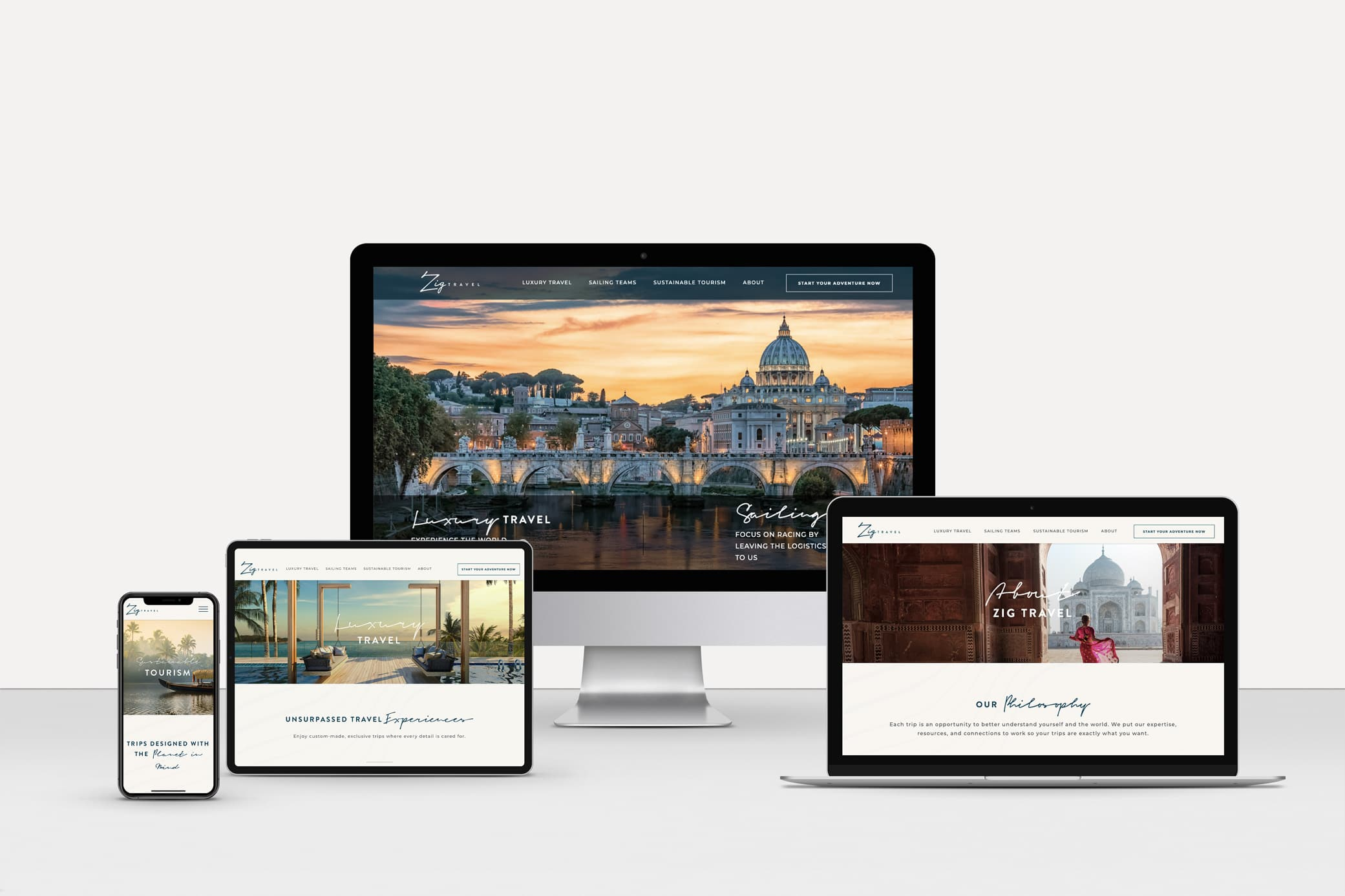 Zig Travel sophisticated website design with lush imagery and separate sections for luxury travel and sailing teams.