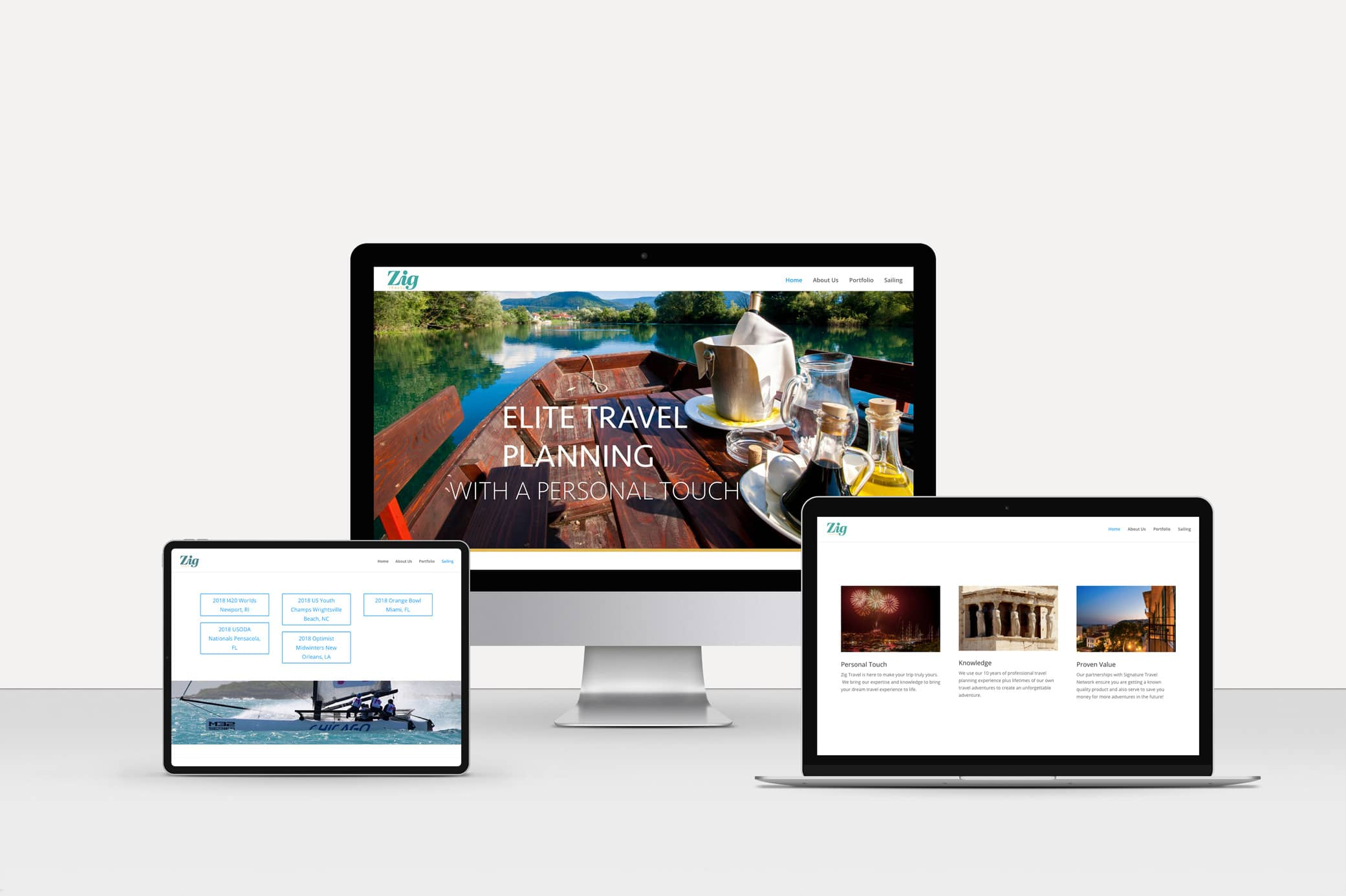 Zig Travel website before the redesign showcasing the homepage and sailing landing pages.