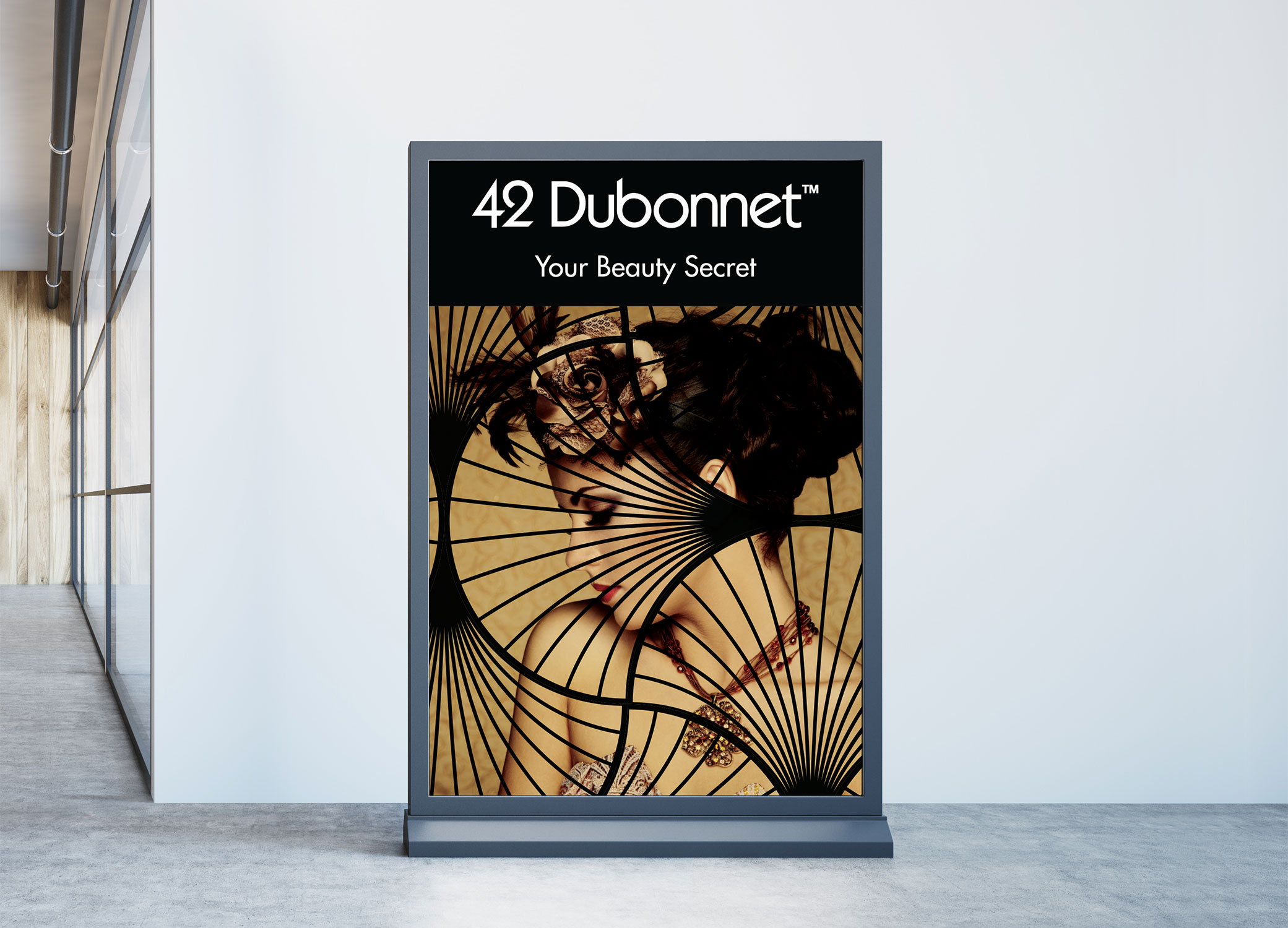 """42 Dubonnet banner including """"Your Beauty Secret"""" tagline with an imaginary speakeasy inspired design."""