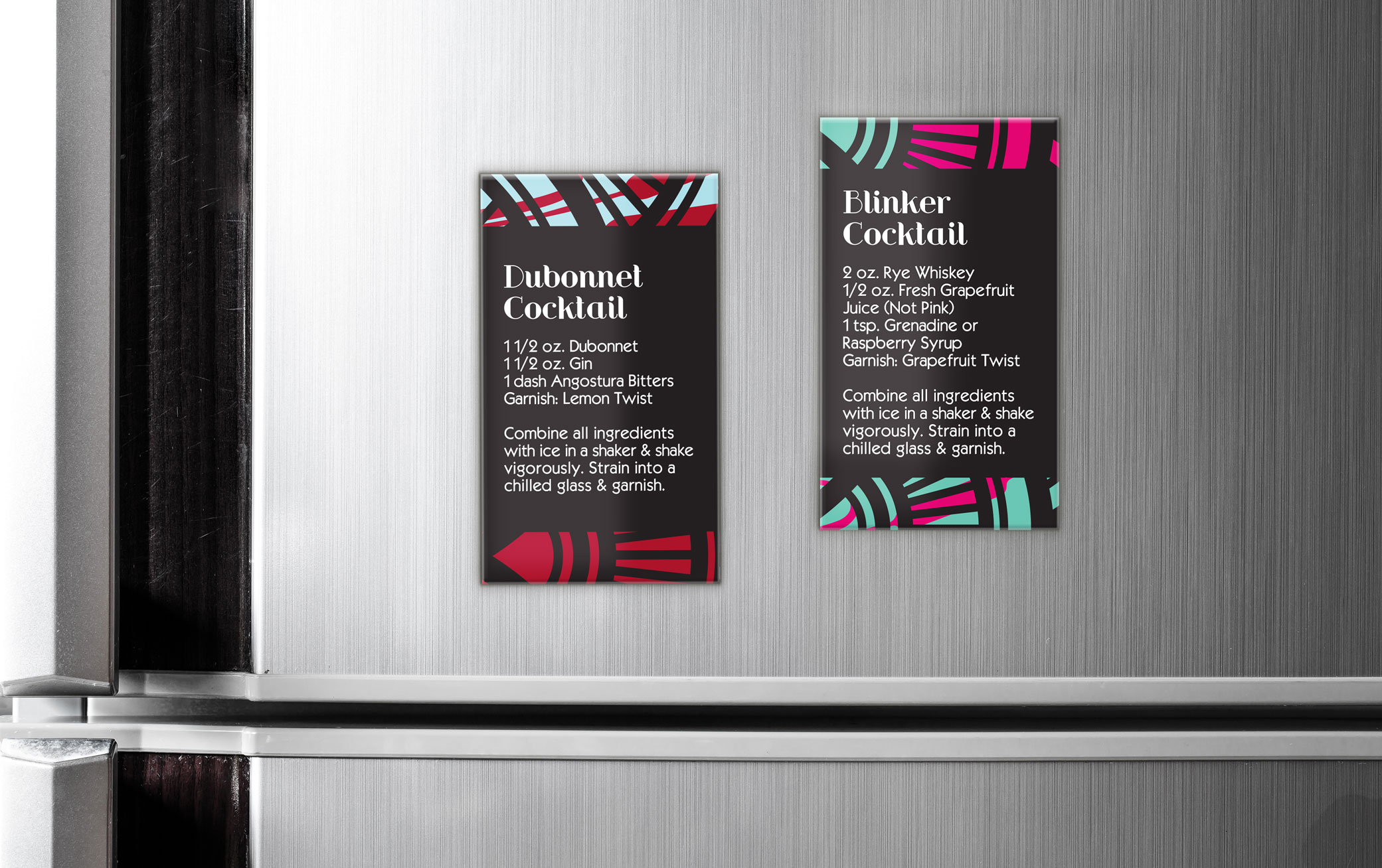 42 Dubonnet Dubonnet and Blinker Cocktail magnets design against a stainless steel refrigerator showcasing the beverage's ingredients on how to create.