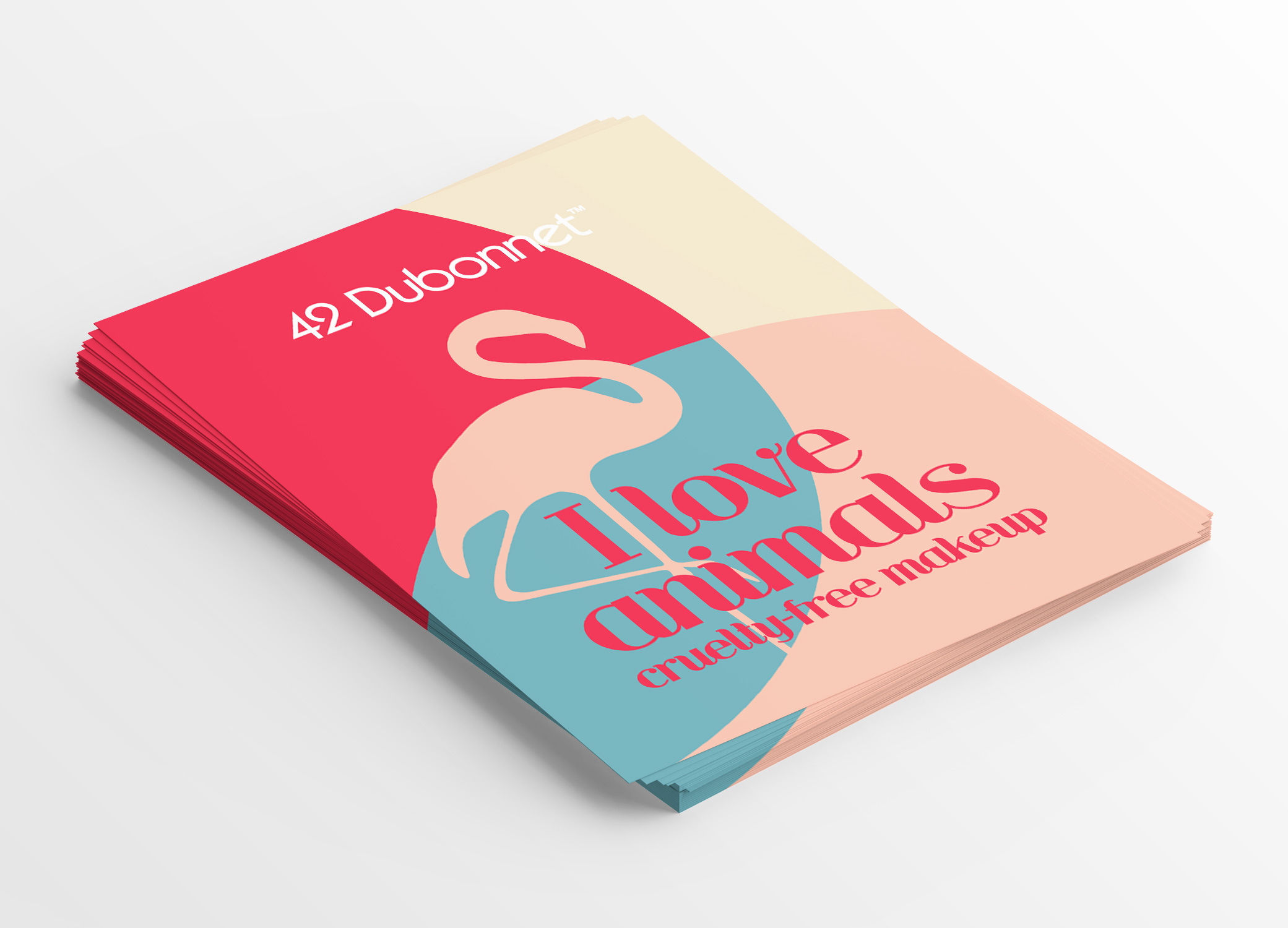 """42 Dubonnet flyer promoting the brand's mission towards sustainability with an image of a flamingo and """"I love animals, cruelty-free makeup"""" advertisement."""