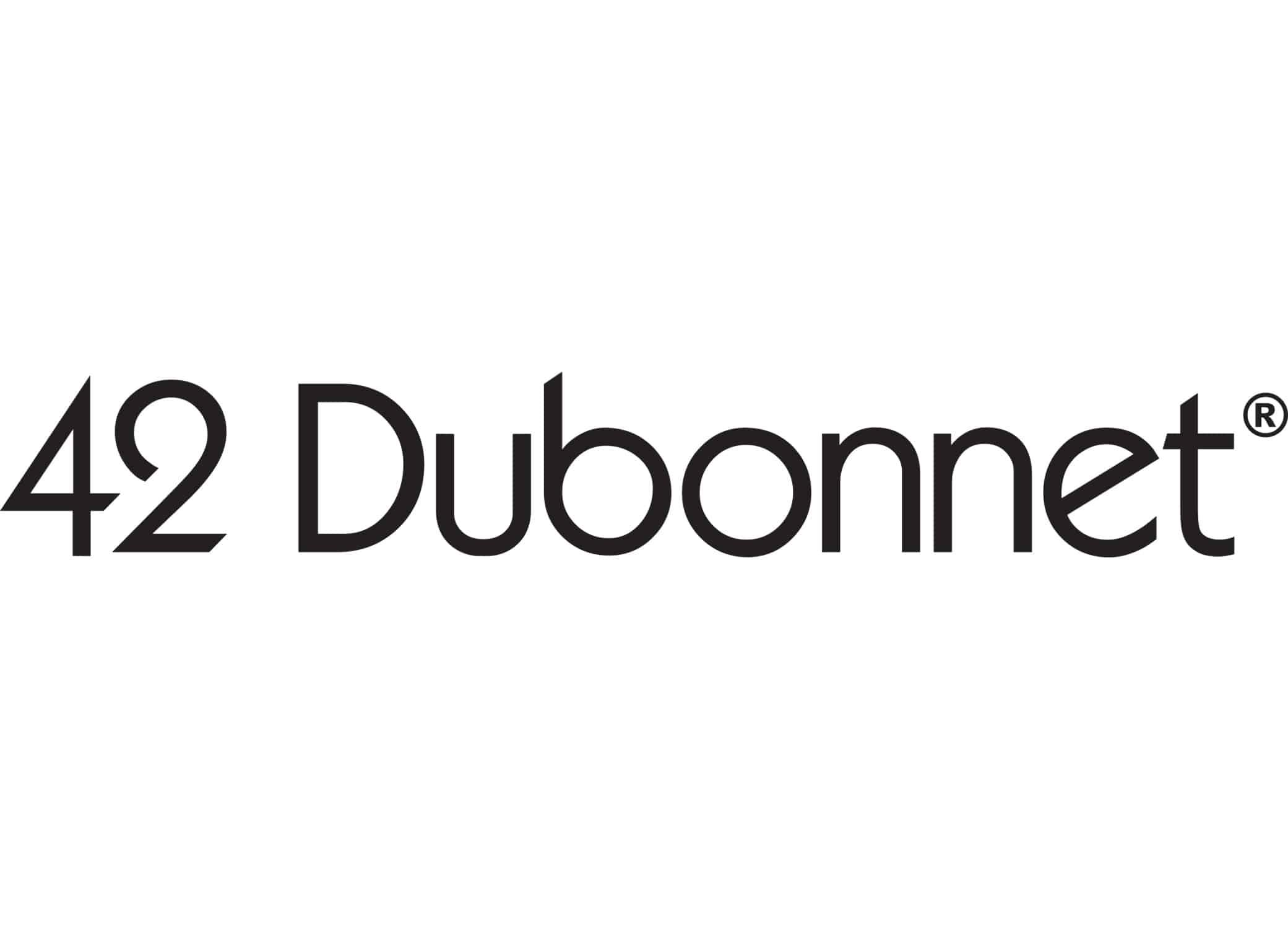 42 Dubonnet makeup brand identity logo design in all black Futura font.