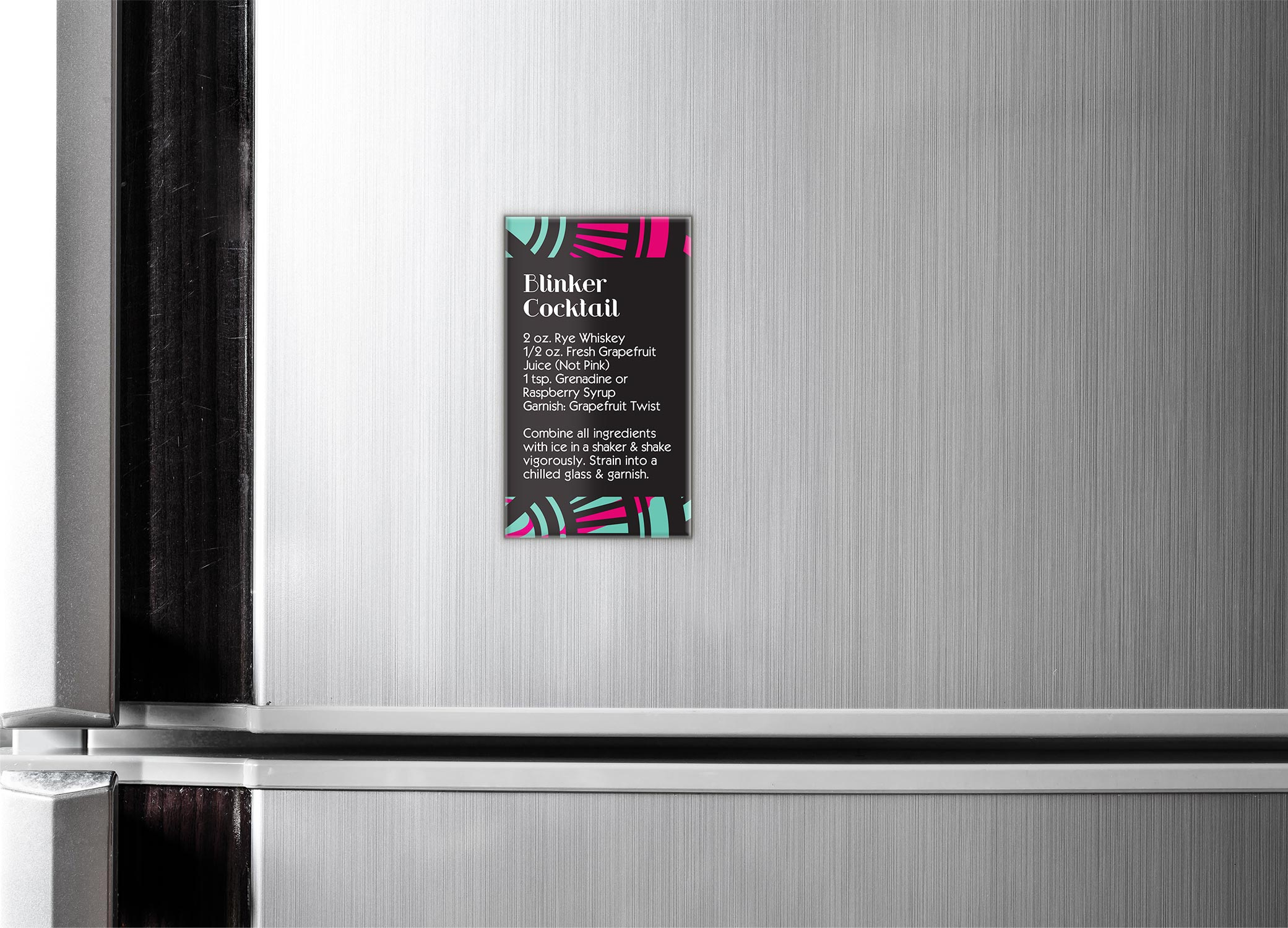 42 Dubonnet Blinker Cocktail magnet design against a stainless steal refrigerator showcasing the beverage's ingredients on how to create.