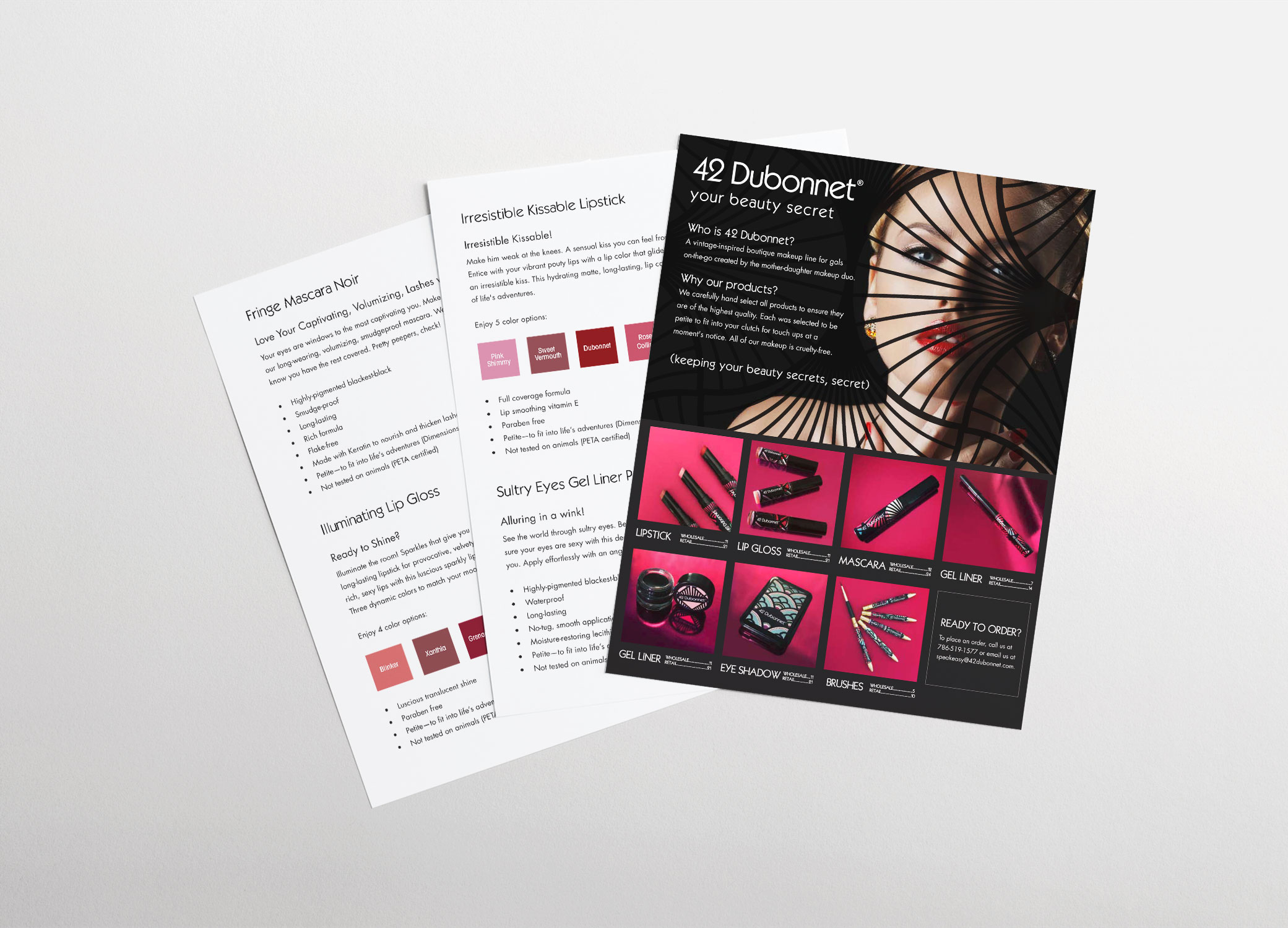 Three 42 Dubonnet makeup brand identity sell sheets showcasing some of their bestselling products in a fanned out view.